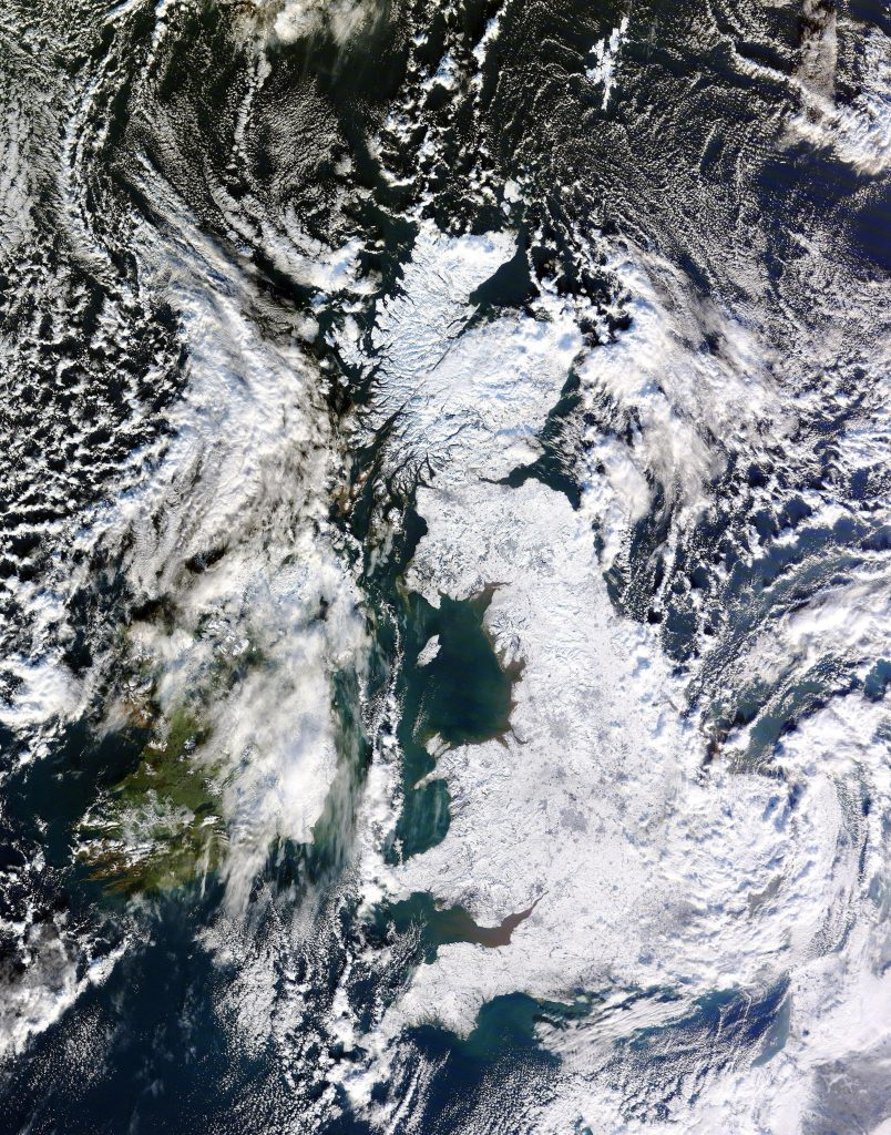 An image collected by the Dundee Satellite Receiving Station showing snow across the country.