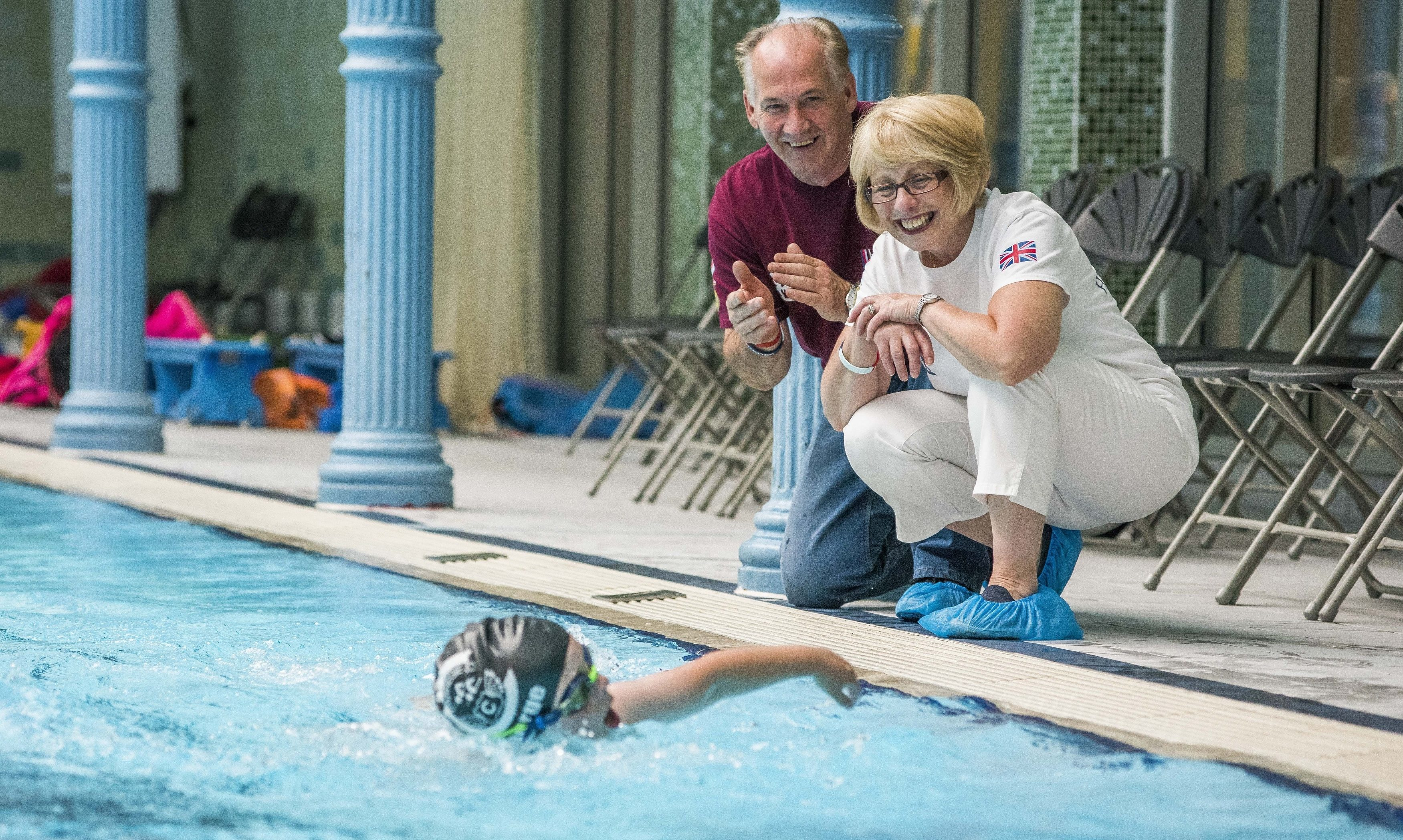 Captain David Seath's parents Pete and Libby were among the supporters as Carnegie Swimming Club swam the length of the English Channel and back.