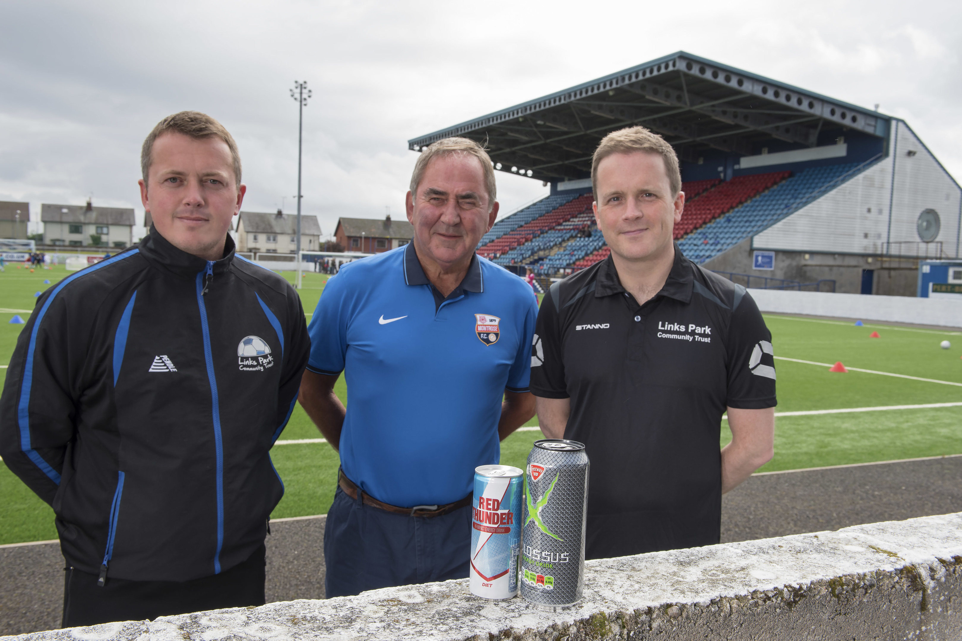 Peter Davidson, manager of the Links Park Community Trust, Montrose FC chairman Derek Sim and club doctor Peter Strachan are backing The Courier's Can It Campaign.