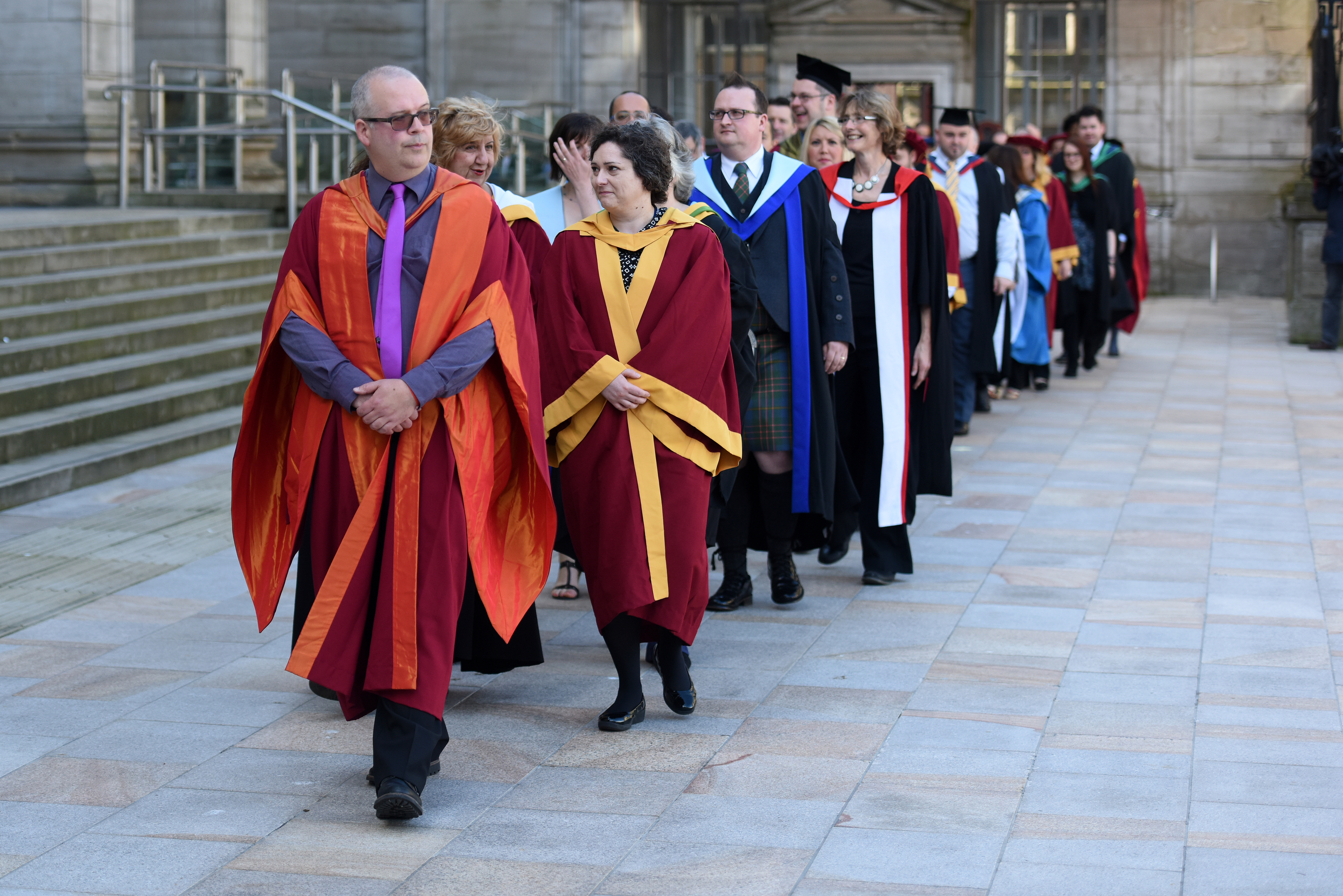 Abertay graduates being lead out during a recent ceremony