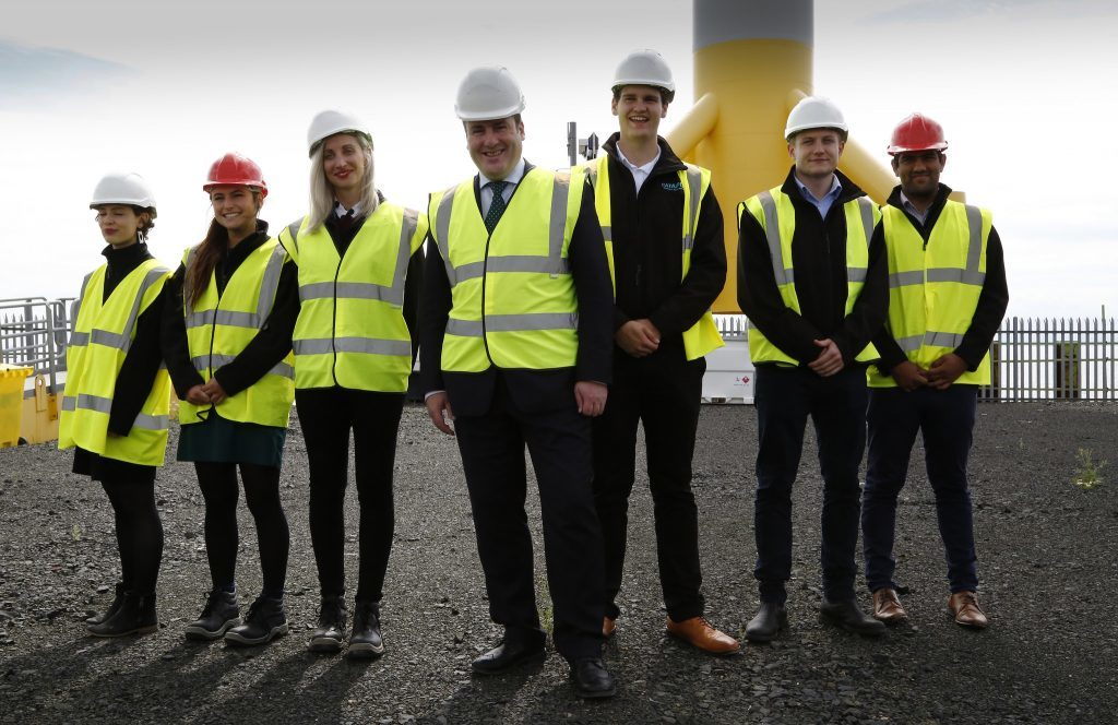 The minister with some of the young people hoping to pursue careers in renewables.