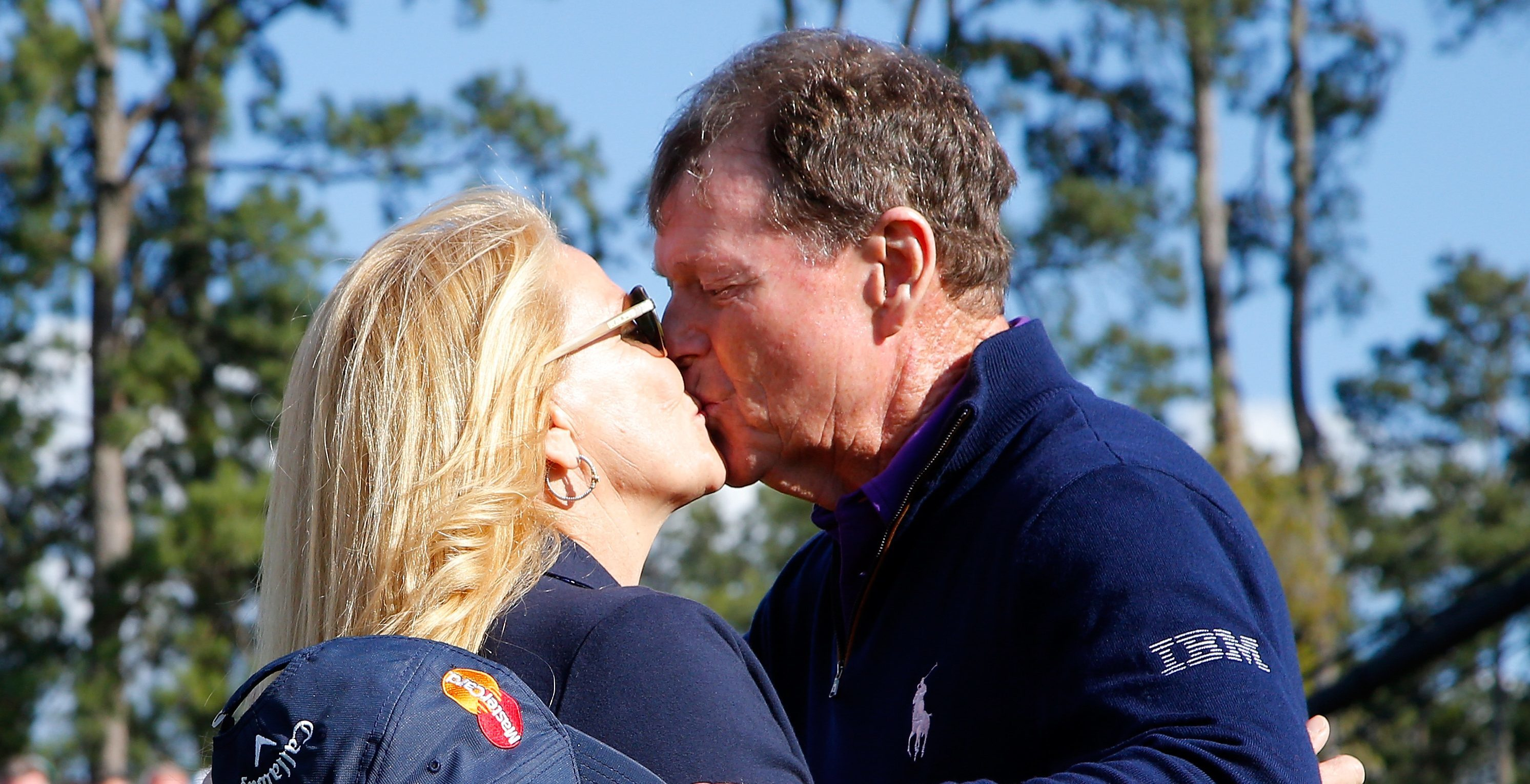 Tom Watson of the United States hugs his wife Hilary after completing the second round of the 2016 Masters Tournament at Augusta National Golf Club.