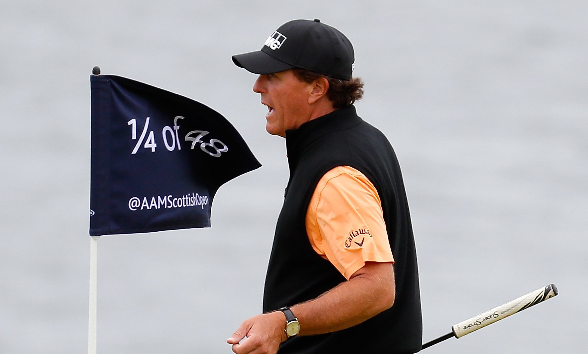 Phil Mickelson practising ahead of the Scottish Open at Castle Stuart.