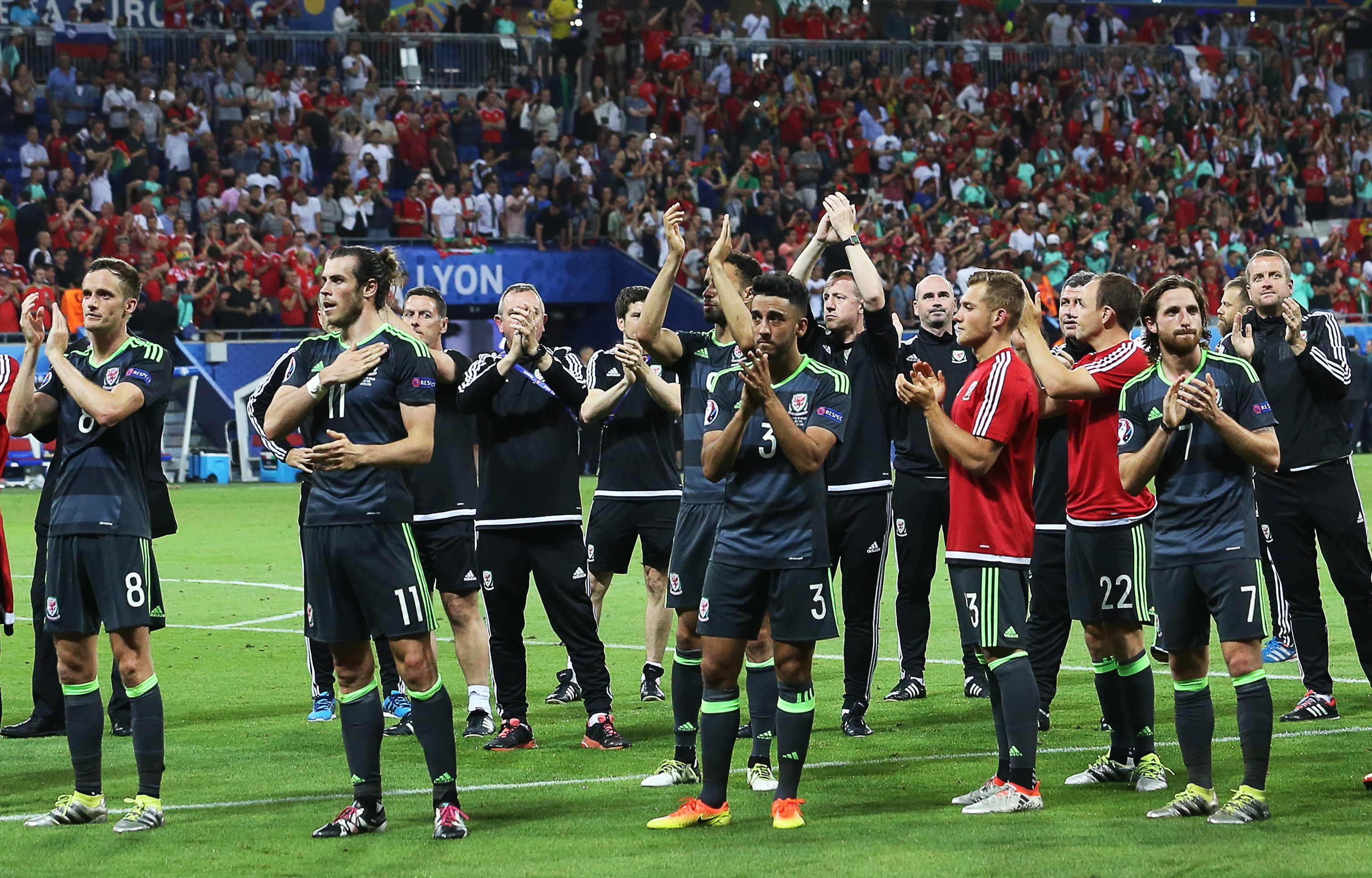Wales players after their  Euro 2016  semi-final defeat to Portugal at Stade de Lyon.