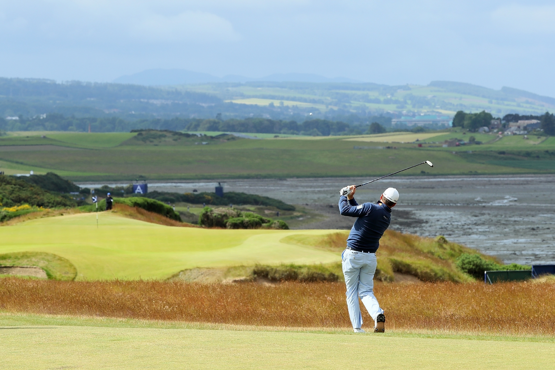 Graeme McDowell playing the 18th at Castle Stuart during yesterday's first round of the AAM Scottish Open.