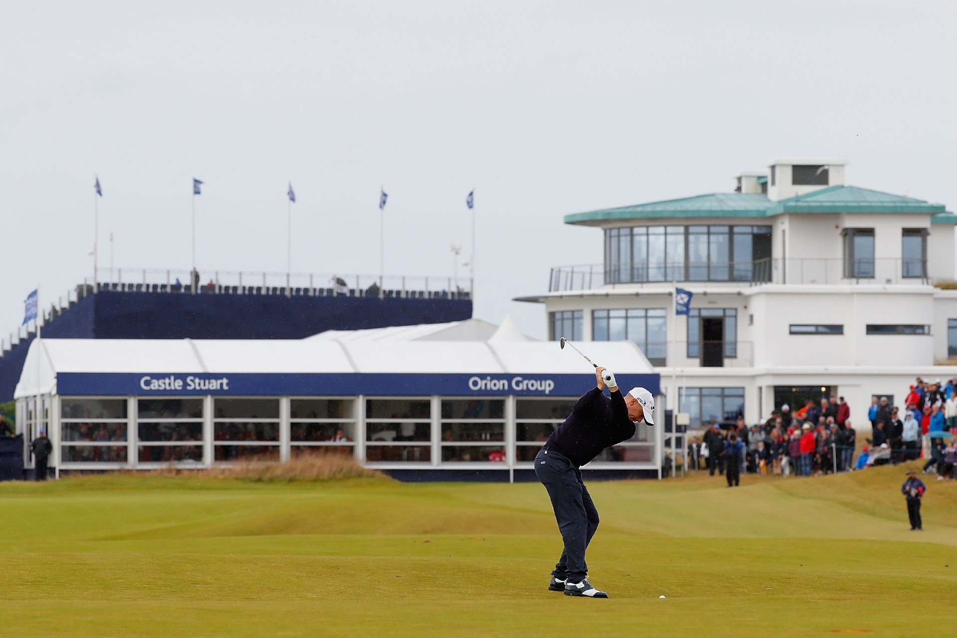 Alex Noren hits into the ninth green during his final round at Castle Stuart.