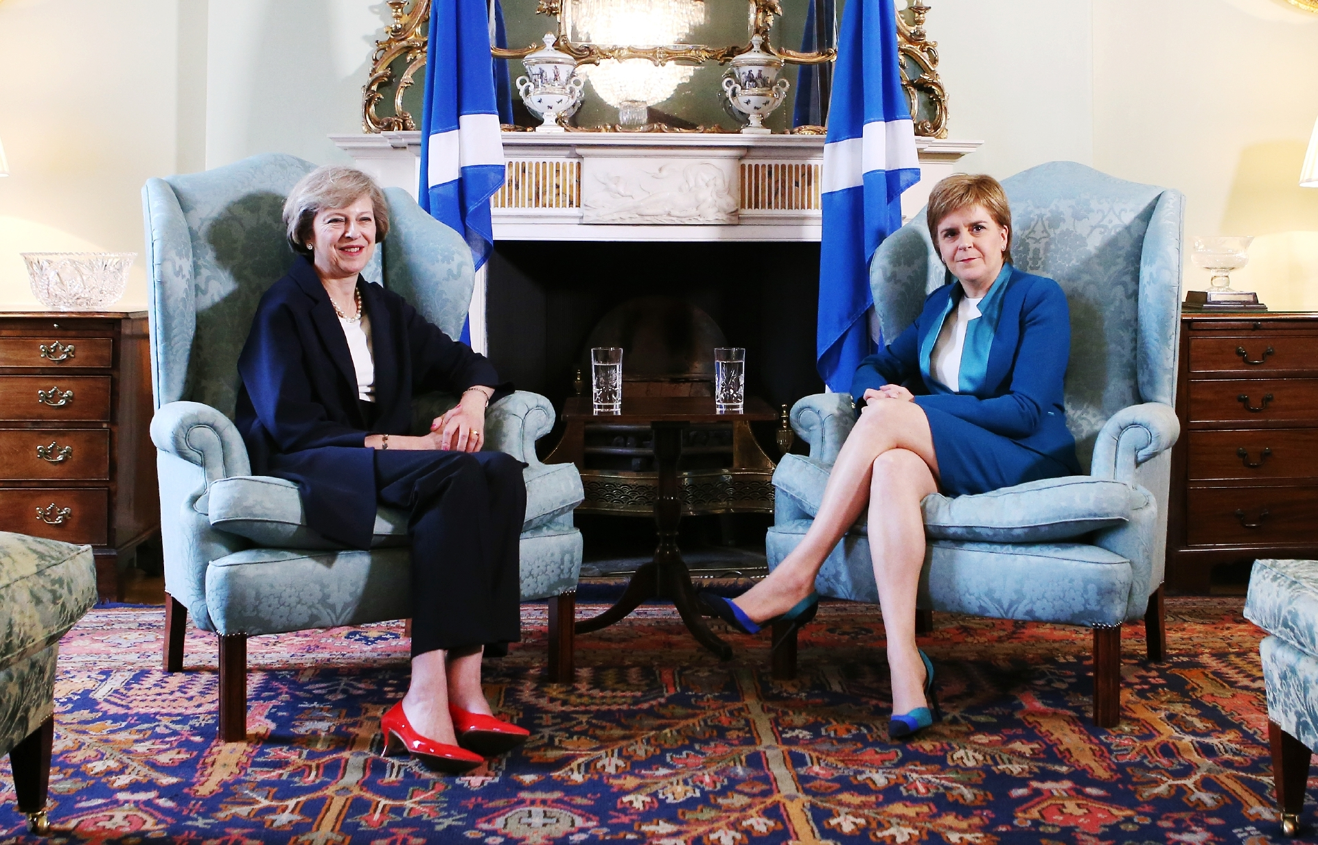 Prime Minister Theresa May meets First Minister Nicola Sturgeon at Bute House last July.