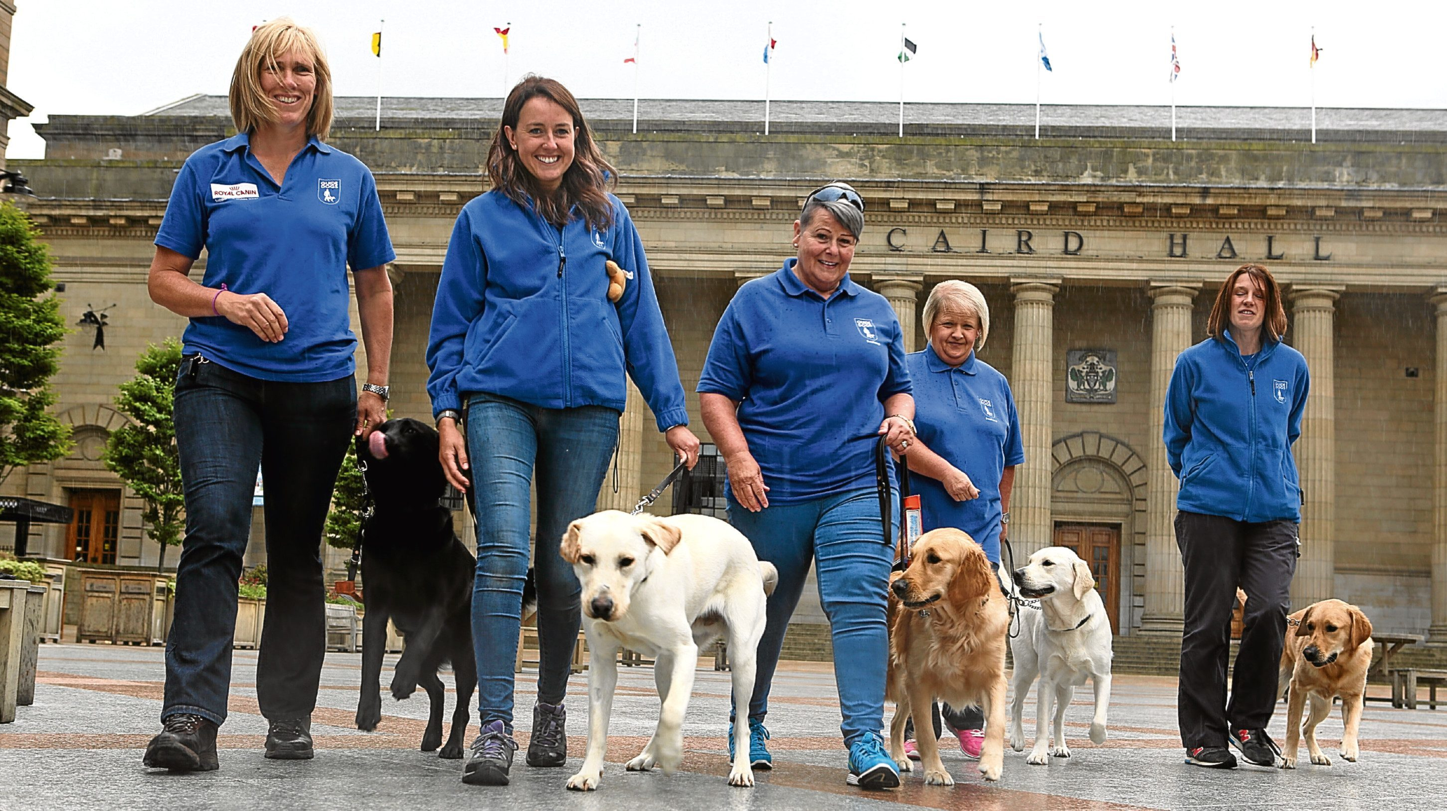 Guide dog trainers and dogs Lorna Cameron and Rowena,  Amy Griffin and Solly, Gail Simpson and Kayla, Liz Angus and Liz and Sally McCulloch and Quin.