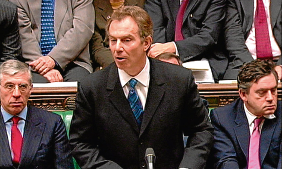 Tony Blair addressing the Commons in 2003 at the height of the Iraq crisis, flanked by Jack Straw, left, and Gordon Brown.