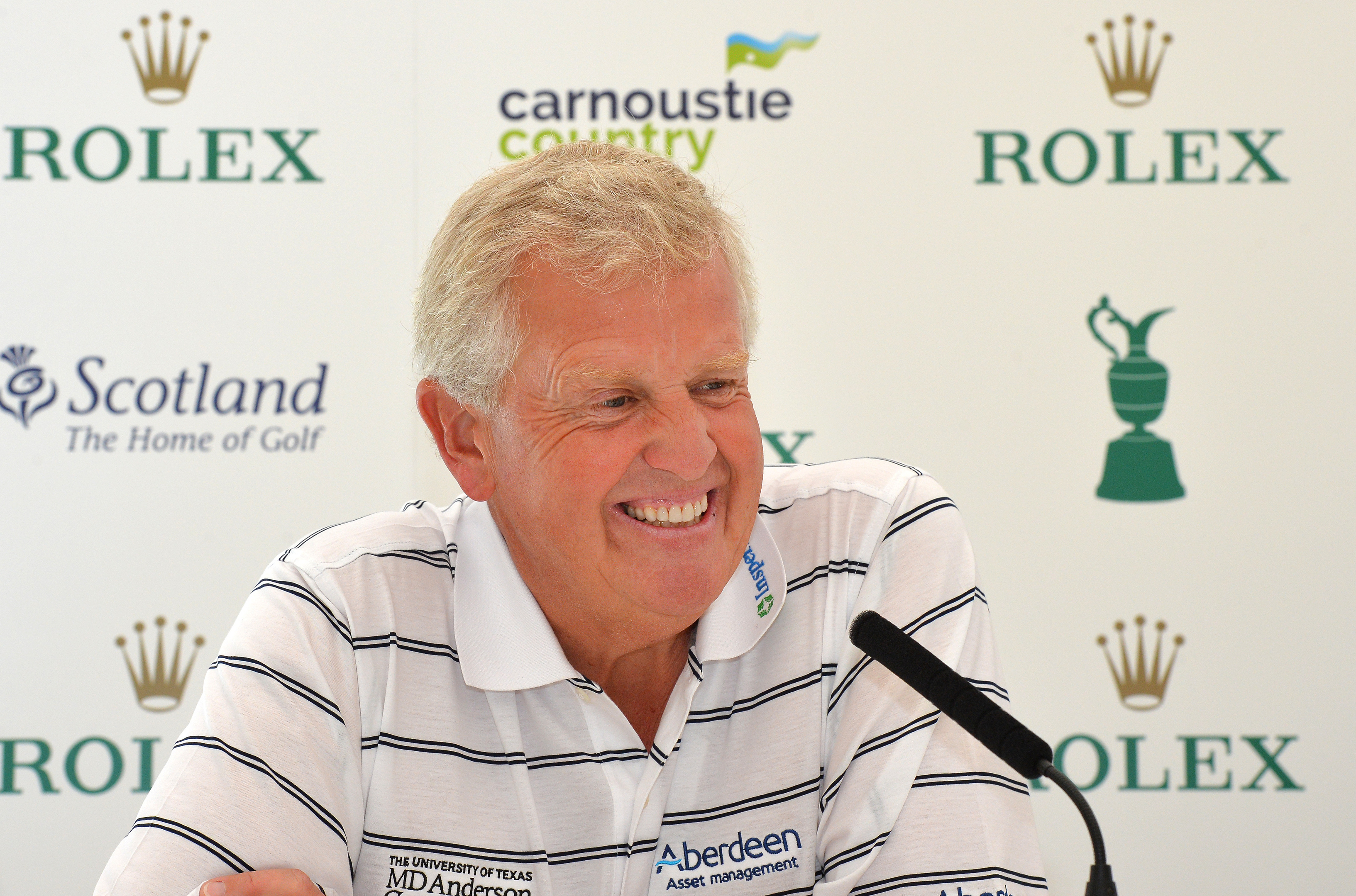 Colin Montgomerie speaks to the media prior to the Senior Open.