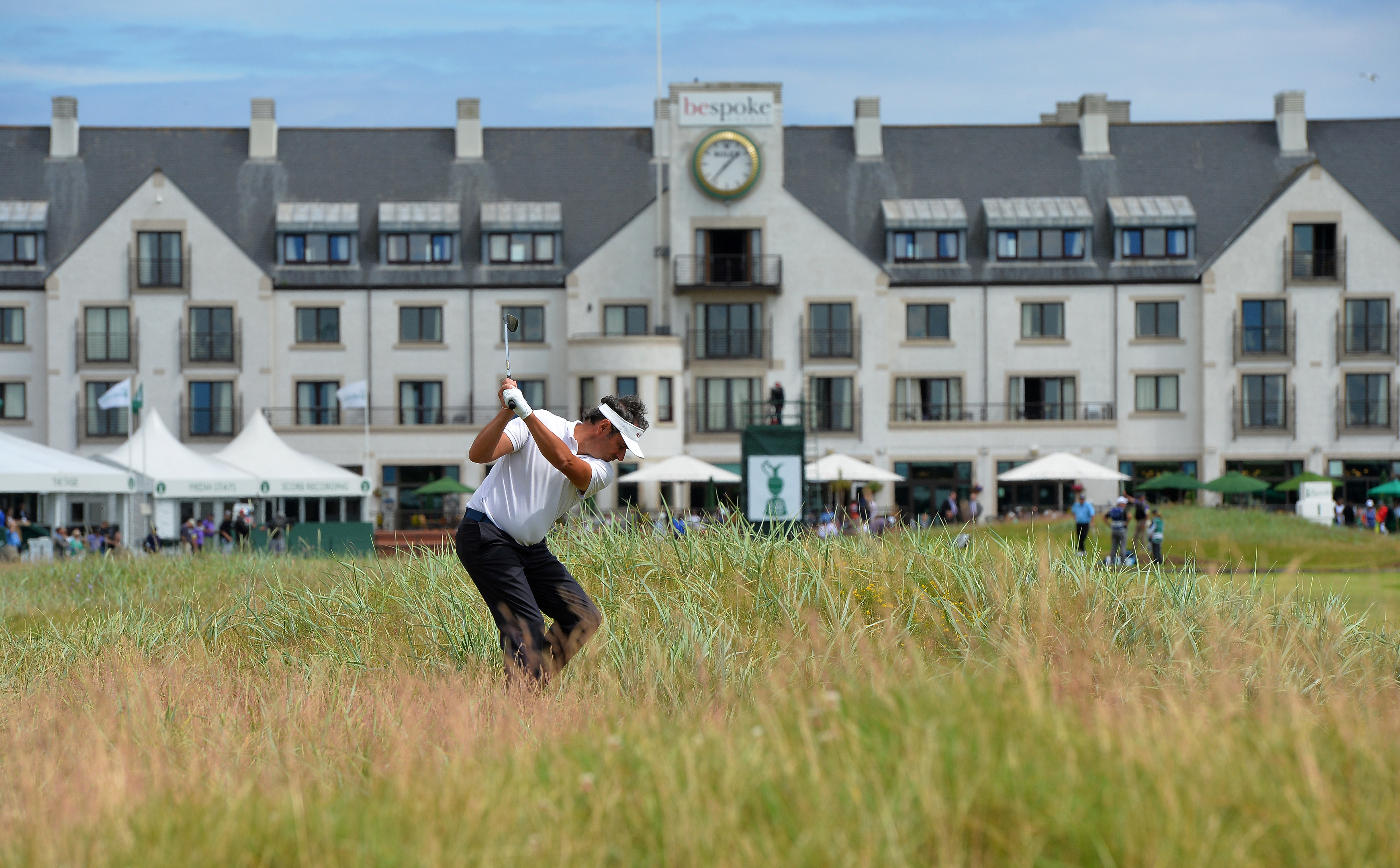 Jean Van De Velde hit from deep rough at the 18th during the The Senior Open at Carnoustie.