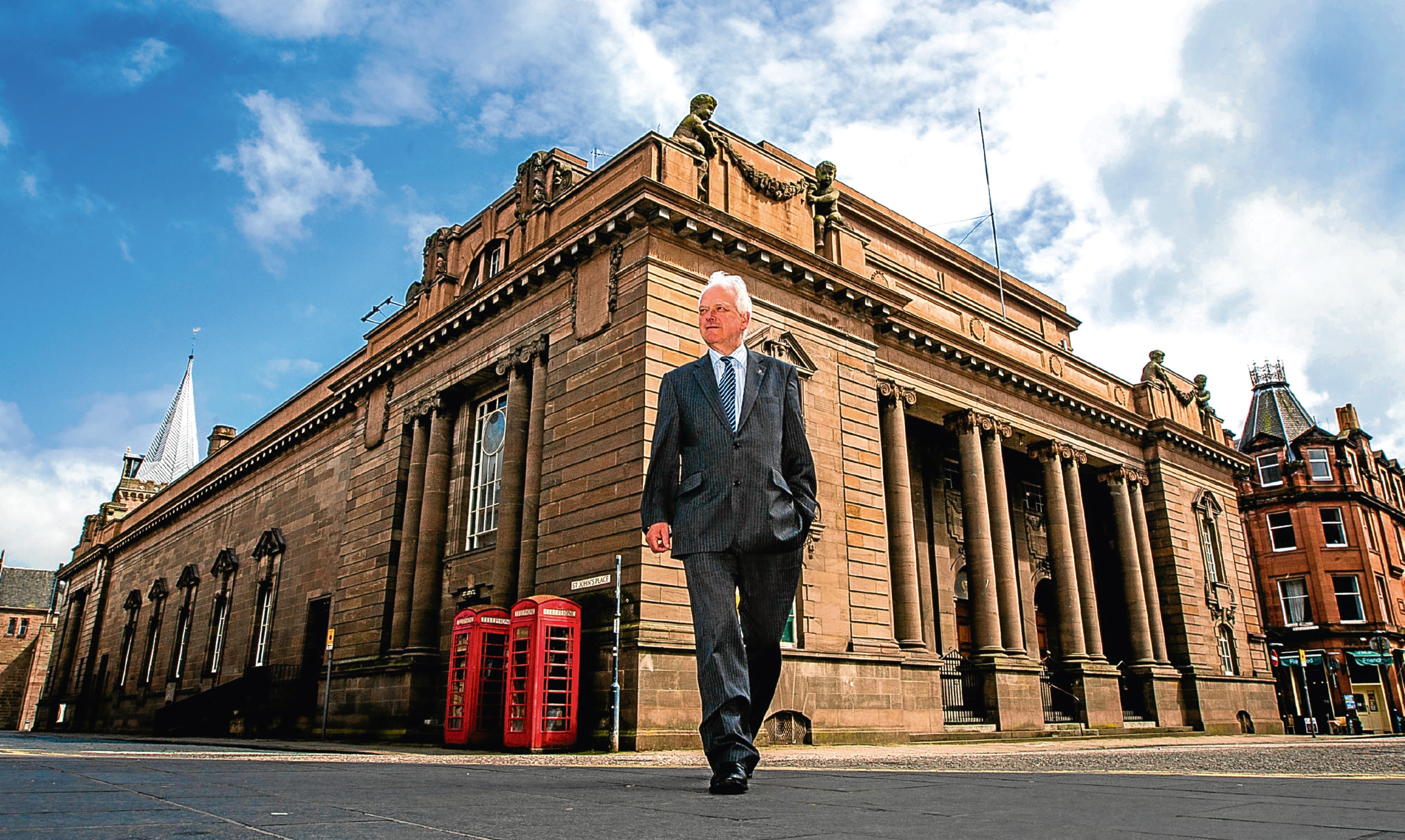 Perth and Kinross Council leader Ian Miller outside Perth city Hall.