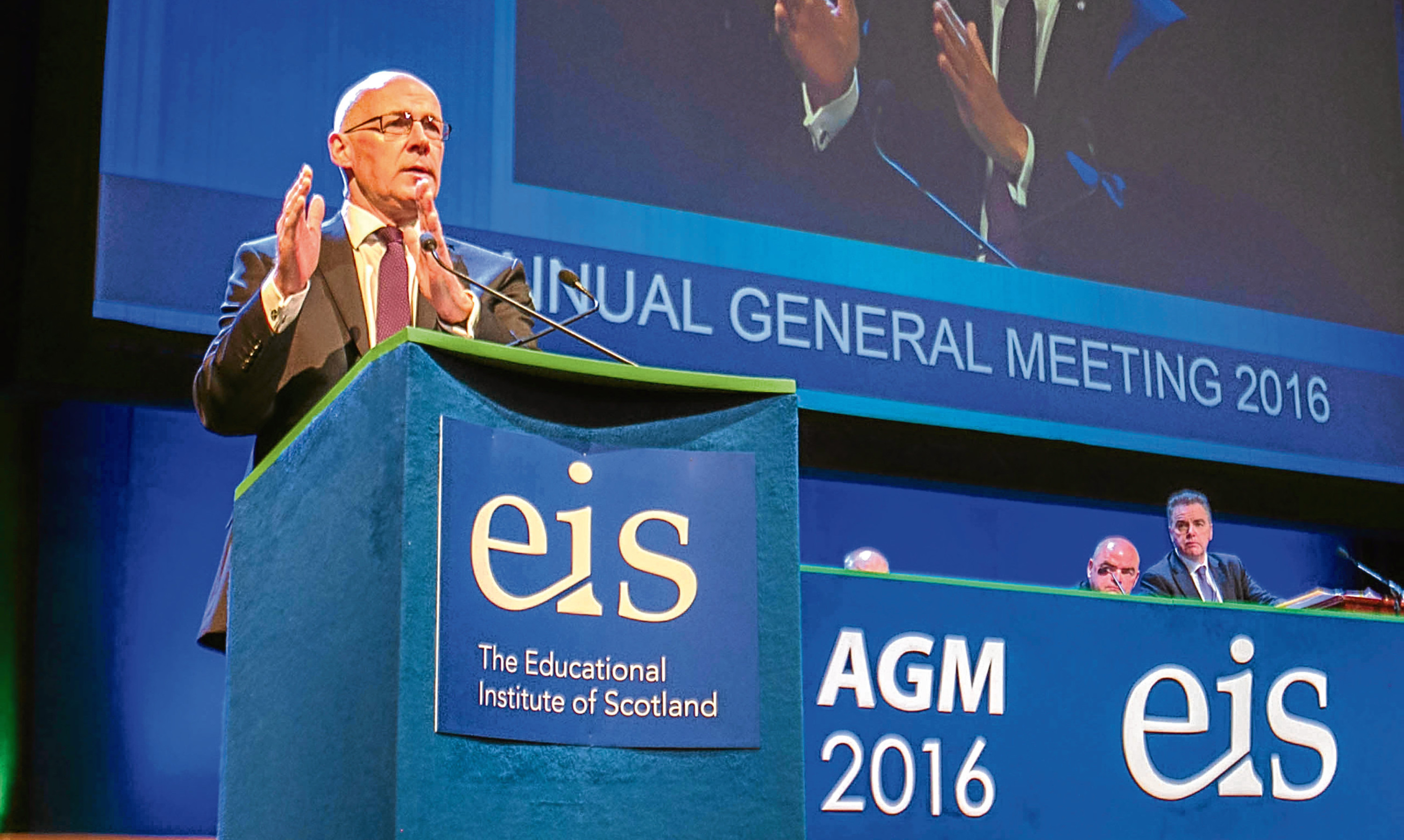 John Swinney addressing the EIS conference in Dundee this past June.