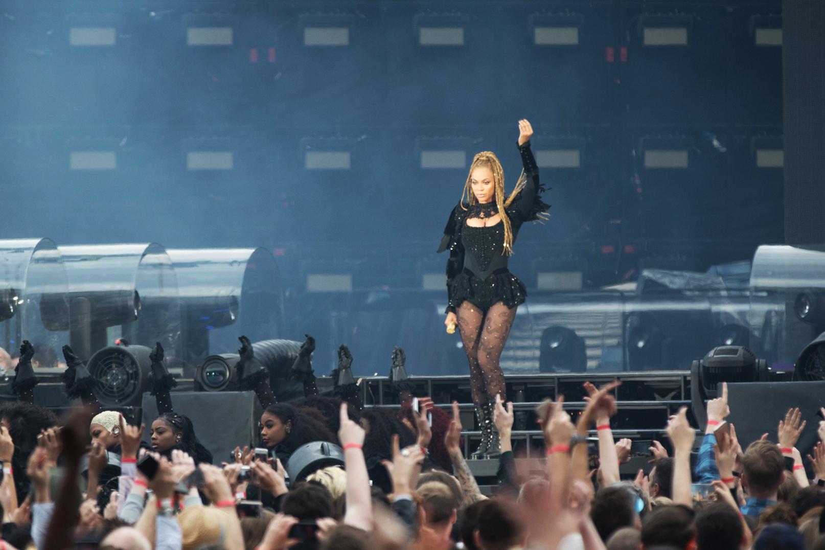 Beyonce performs at Hampden Park.