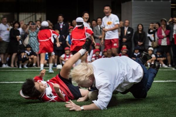 A crunching tackle as Boris shows who's boss.