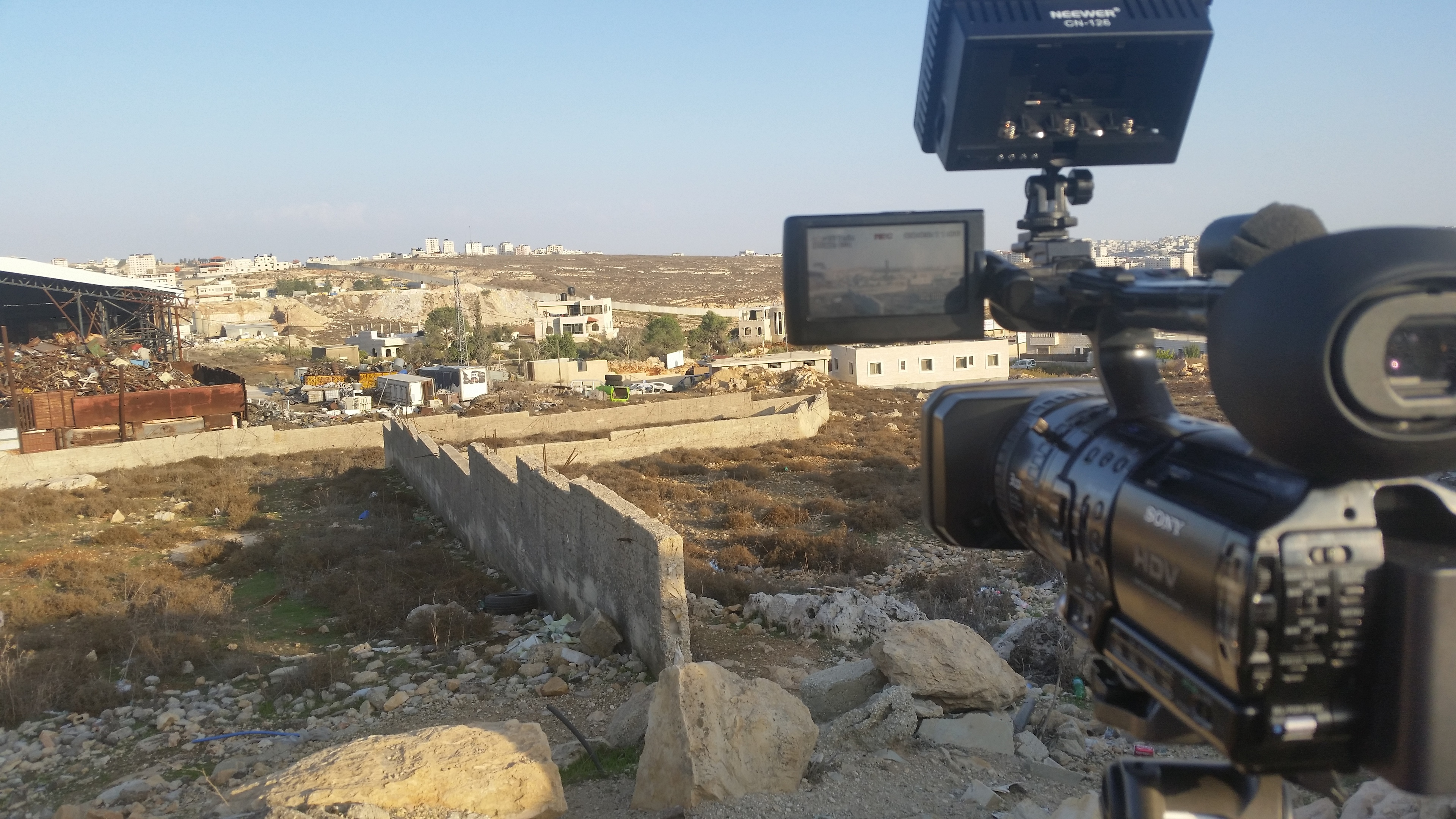 Filming the apartheid wall in Ramallah