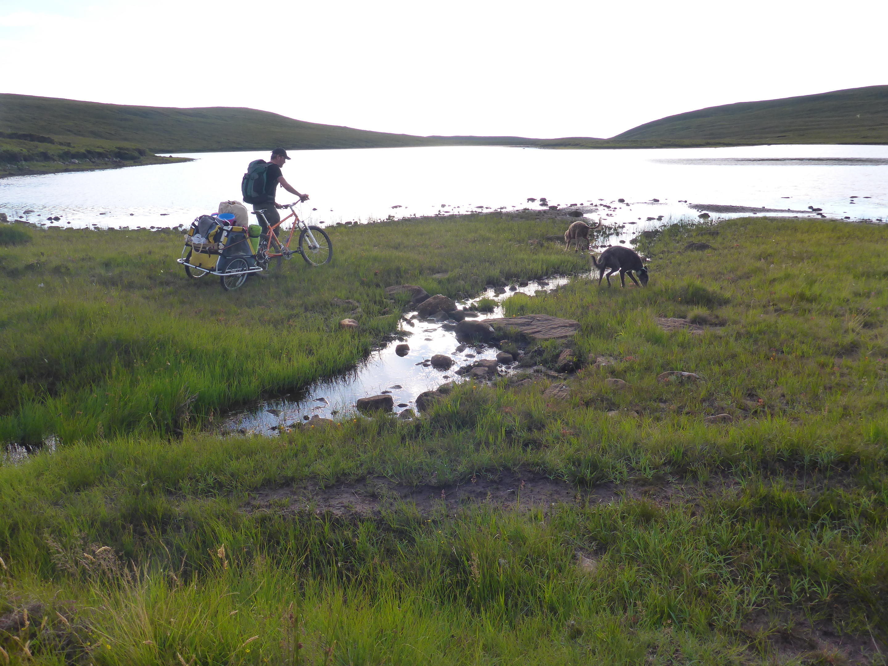 Crossing rivers on a bike is a problem with 35kg of kit in a trailer.
