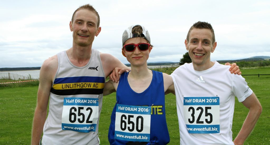 Winner of the half marathon Harvey Rankine, centre, from St. Andrews, with left, second place John Redding from Linlithgow and right, third place Mike Herron from Monikie