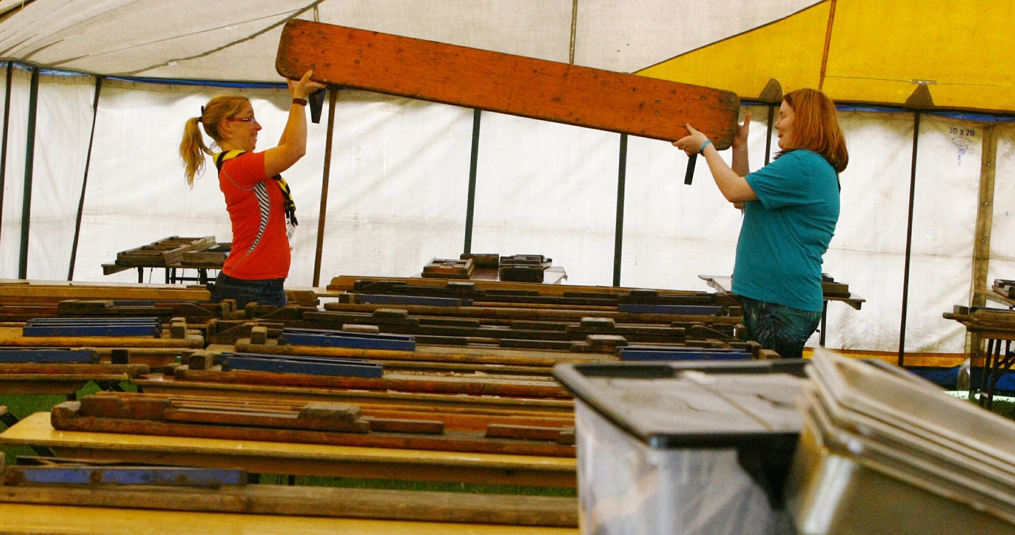 Lisa Finn, left, and Amanda Swan helping to set out the dining tent for the camp at Blair Atholl.