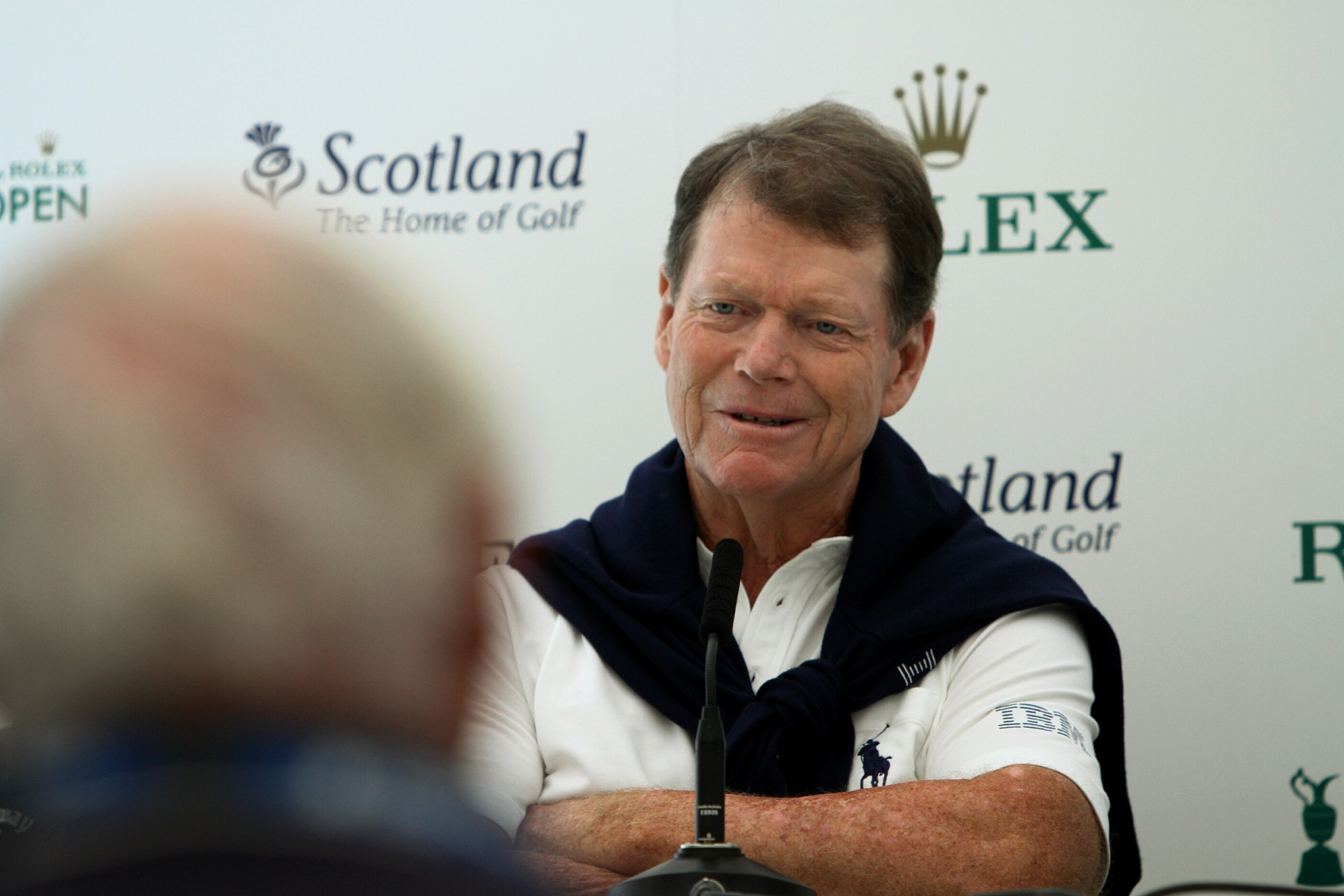 Tom Watson speaks to the media at Carnoustie yesterday. Pic: D Nicolson