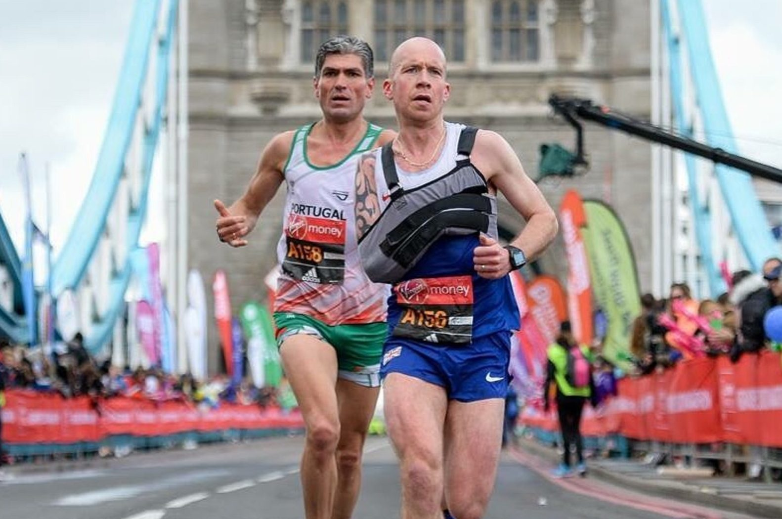 Derek Rae in action in the London Marathon.