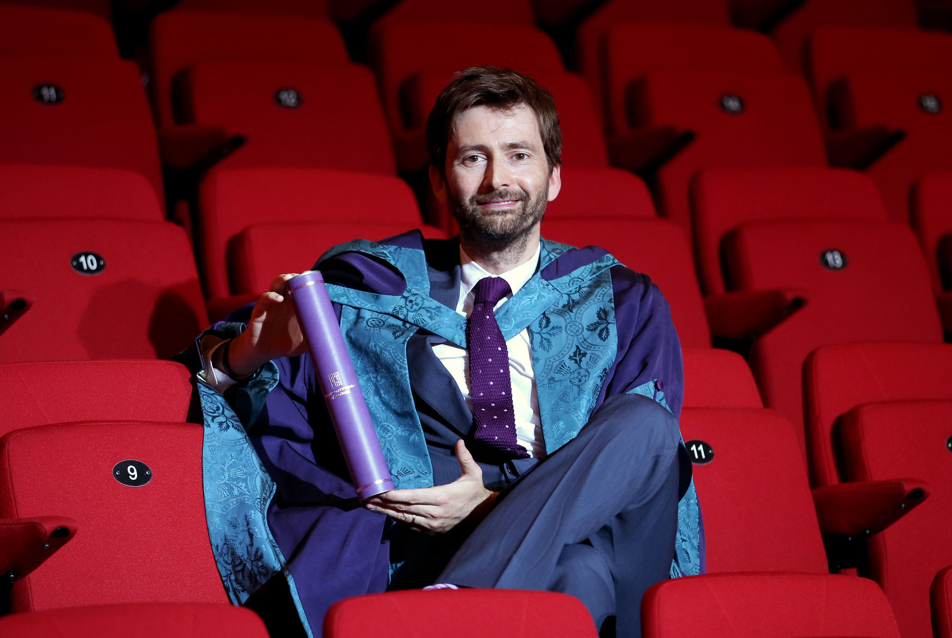 Actor David Tennant receives an Honorary Doctor of Drama from the Royal Conservatoire of Scotland in Glasgow.