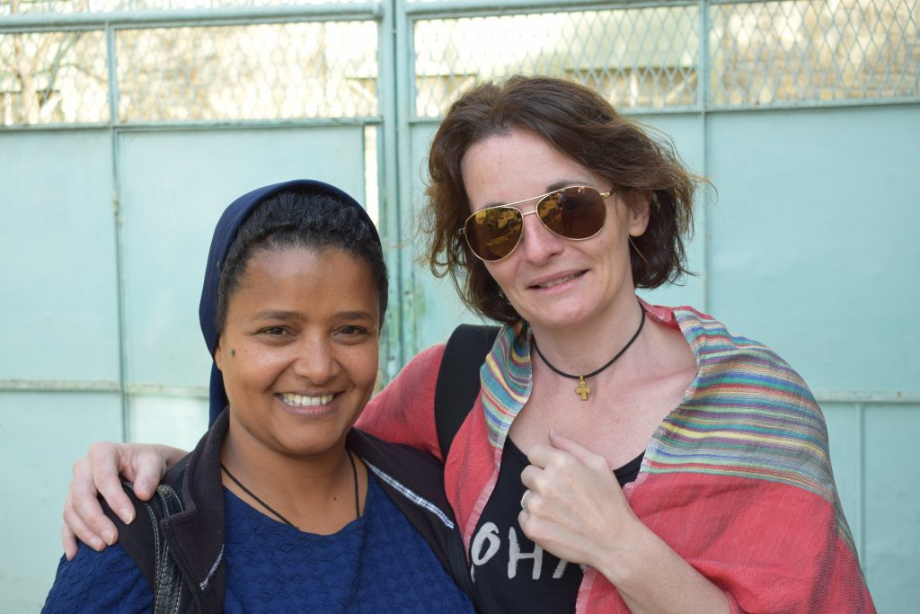 Virginie with one of the nuns at the charity.