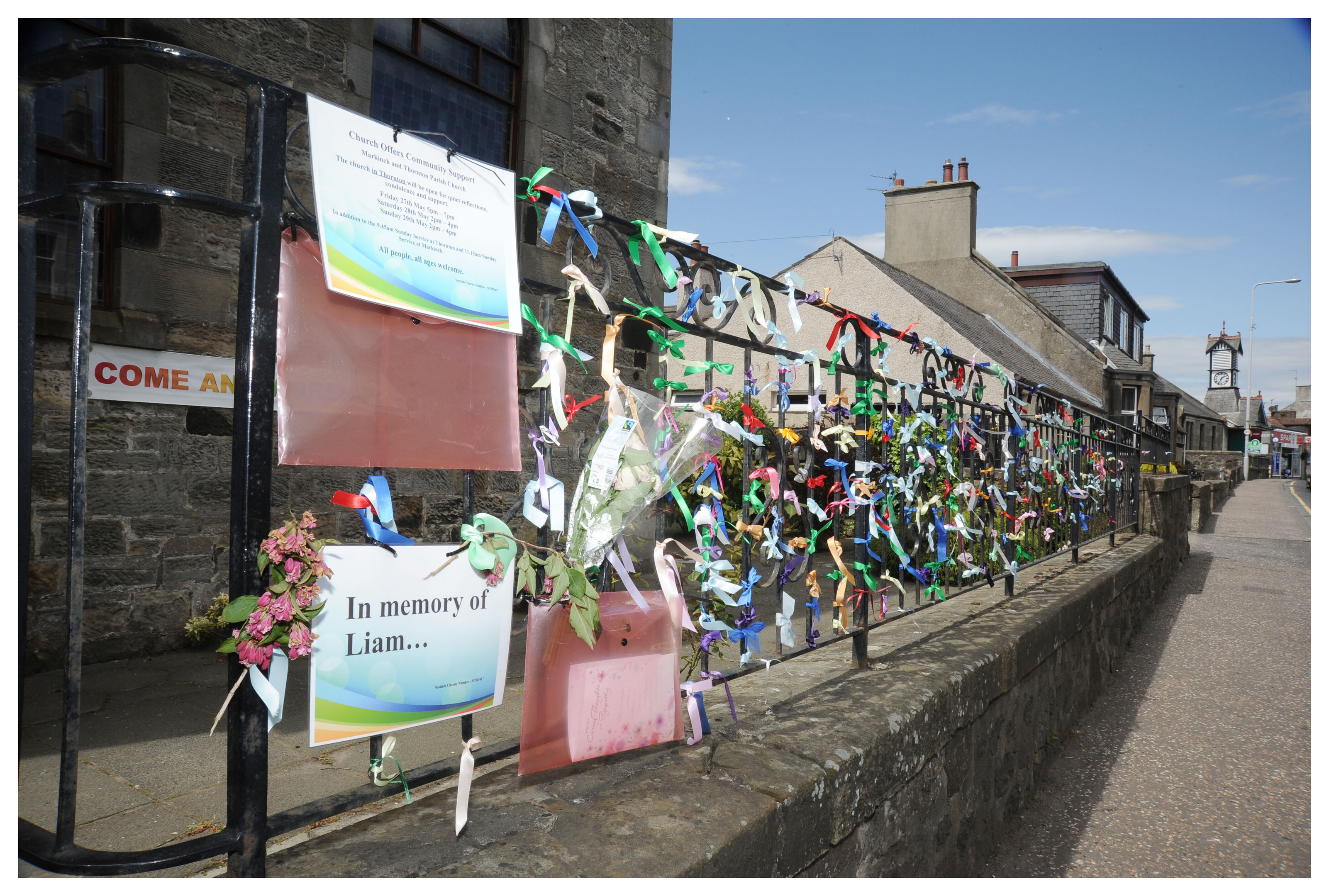 Ribbons for Liam Fee outside Thornton Parish Church, which will open tonight for reflection.