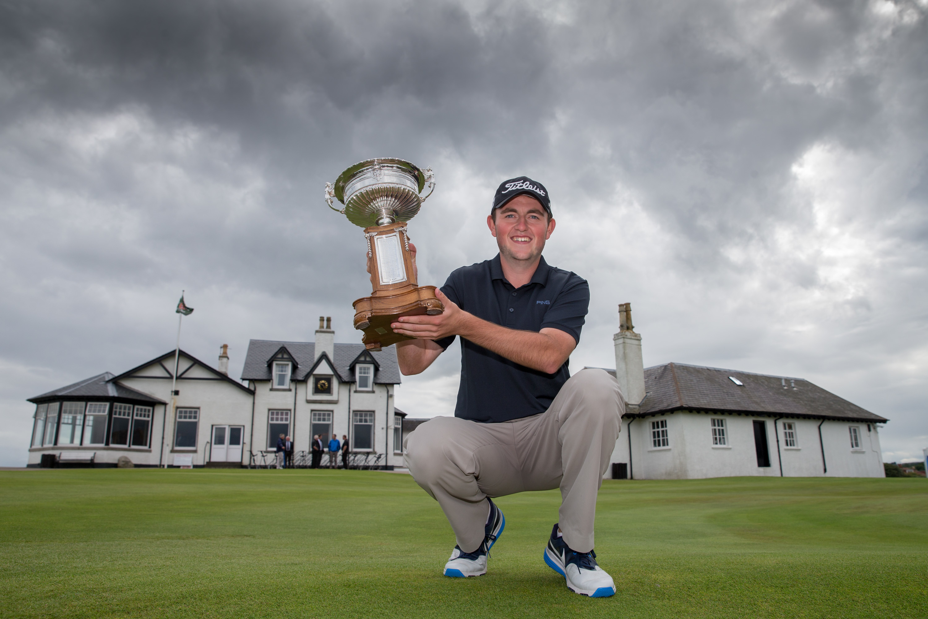 George Duncan with the Scottish Amateur trophy after his victory at Royal Aberdeen.