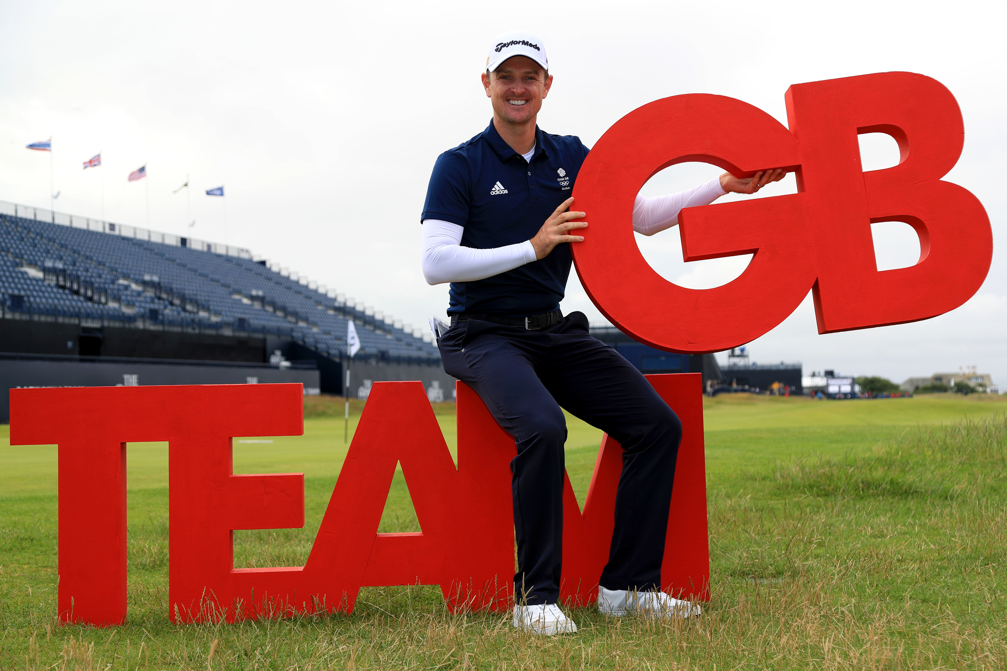 Justin Rose of England poses during a British Olympic Golf Team photocall.