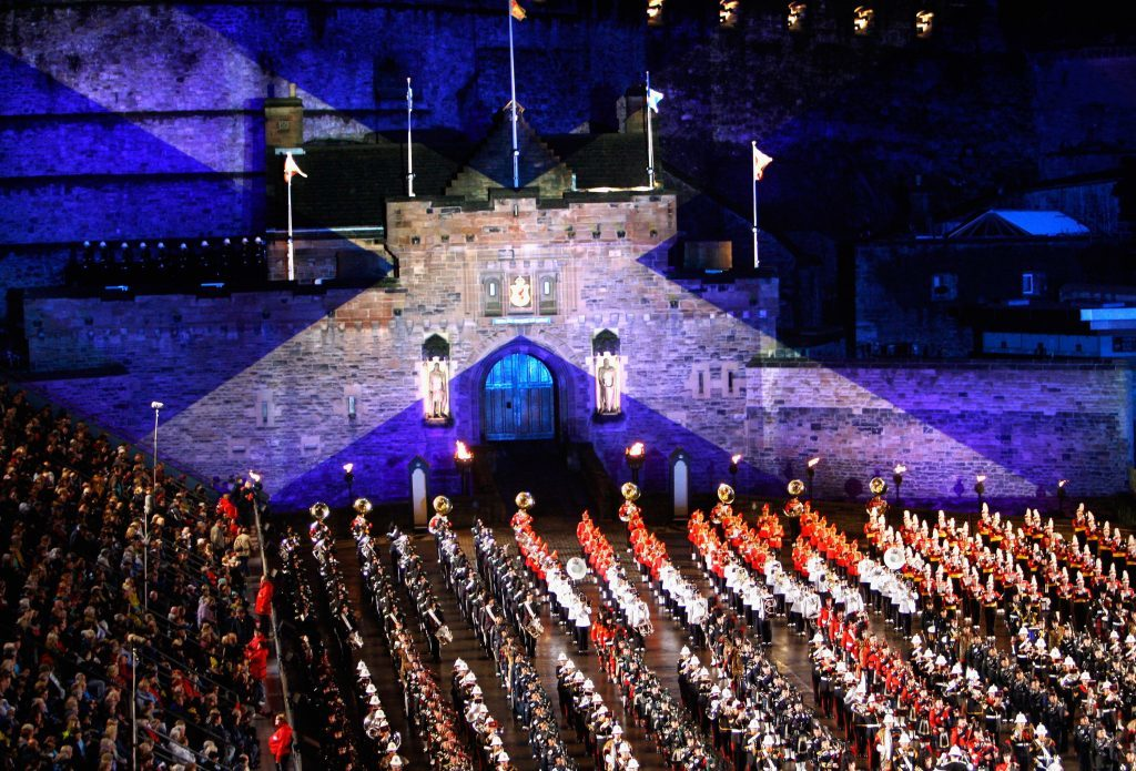 The Massed Military Bands and Pipes and Drums perform during the dress rehearsal for the Edinburgh Military Tattoo on the concourse Edinburgh Castle July 31, 2008