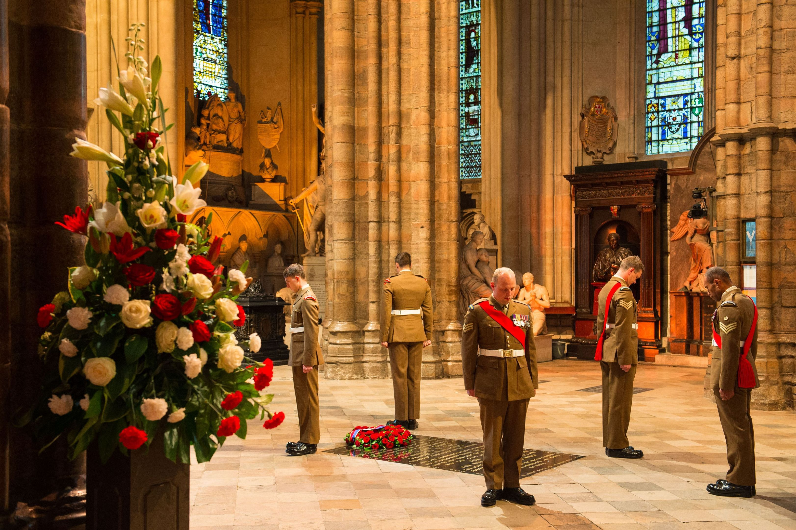 The close of the vigil at the Grave of the Unknown Solider in Westminster Abbey,