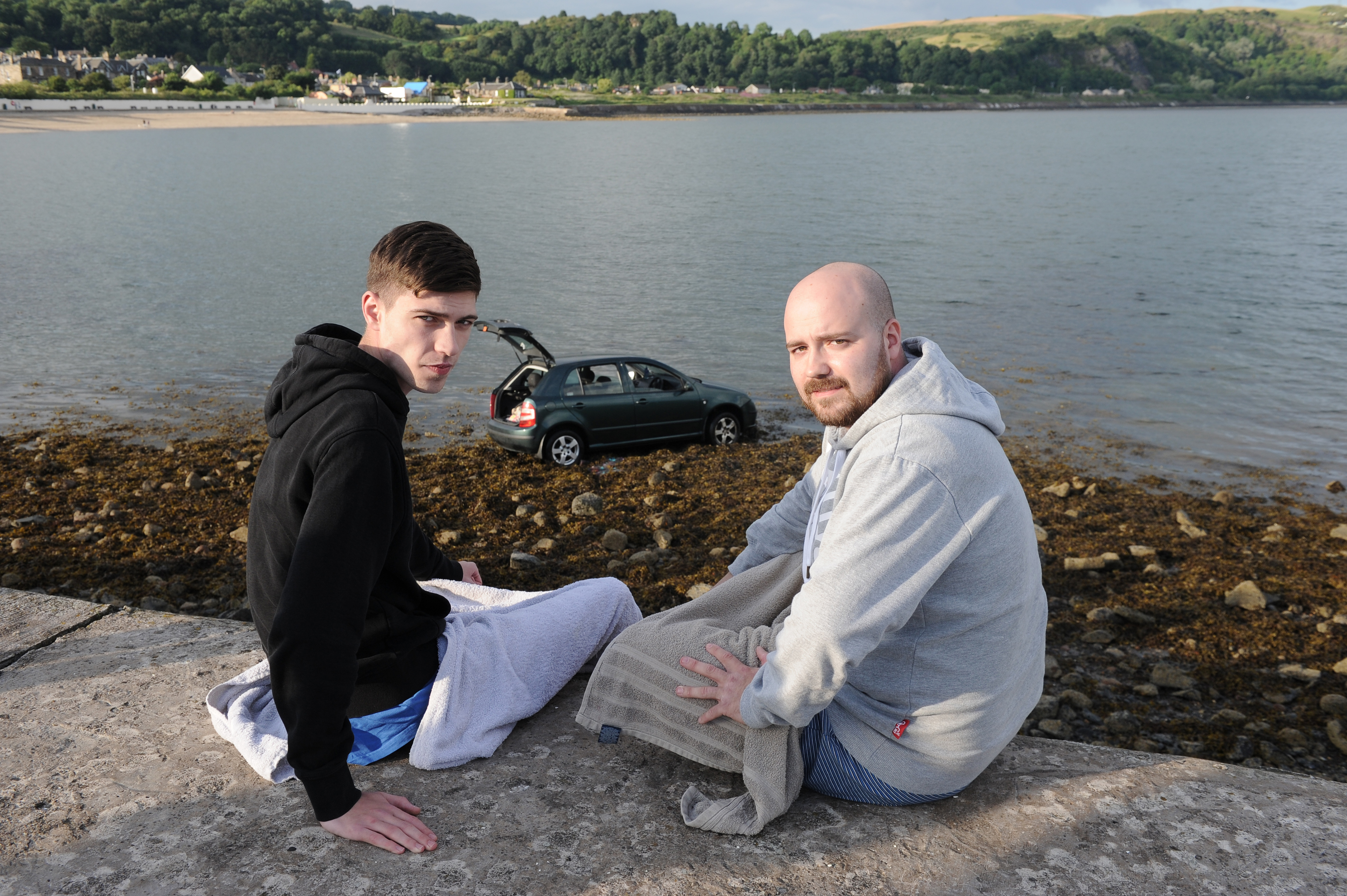 Connor Carnegie and Connor Jarvie at Burntisland harbour.