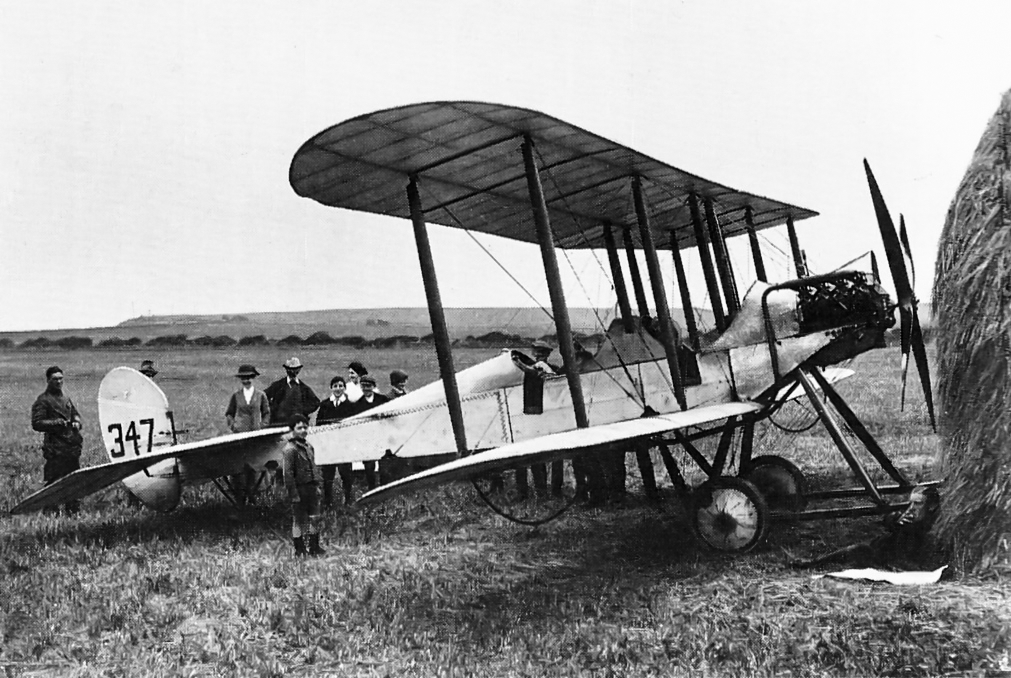 Lieutenant H D Harvey-Kelly, the first British pilot to land in France after the declaration of war, rests his BE2A near Whitby, Yorkshire, in August 1914, during a stop in a flight south from Montrose