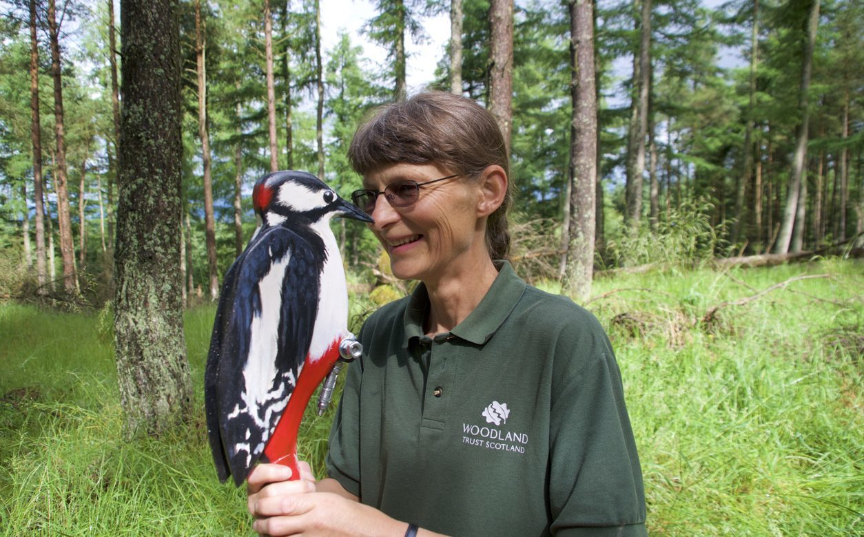 Woodland Trust Scotland site manager Jill Aitken nose to nose with the Moncreiffe Hill woodpecker.