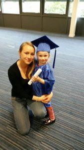 Mia Nogly, 4, and her mother Justyna Pietrasz