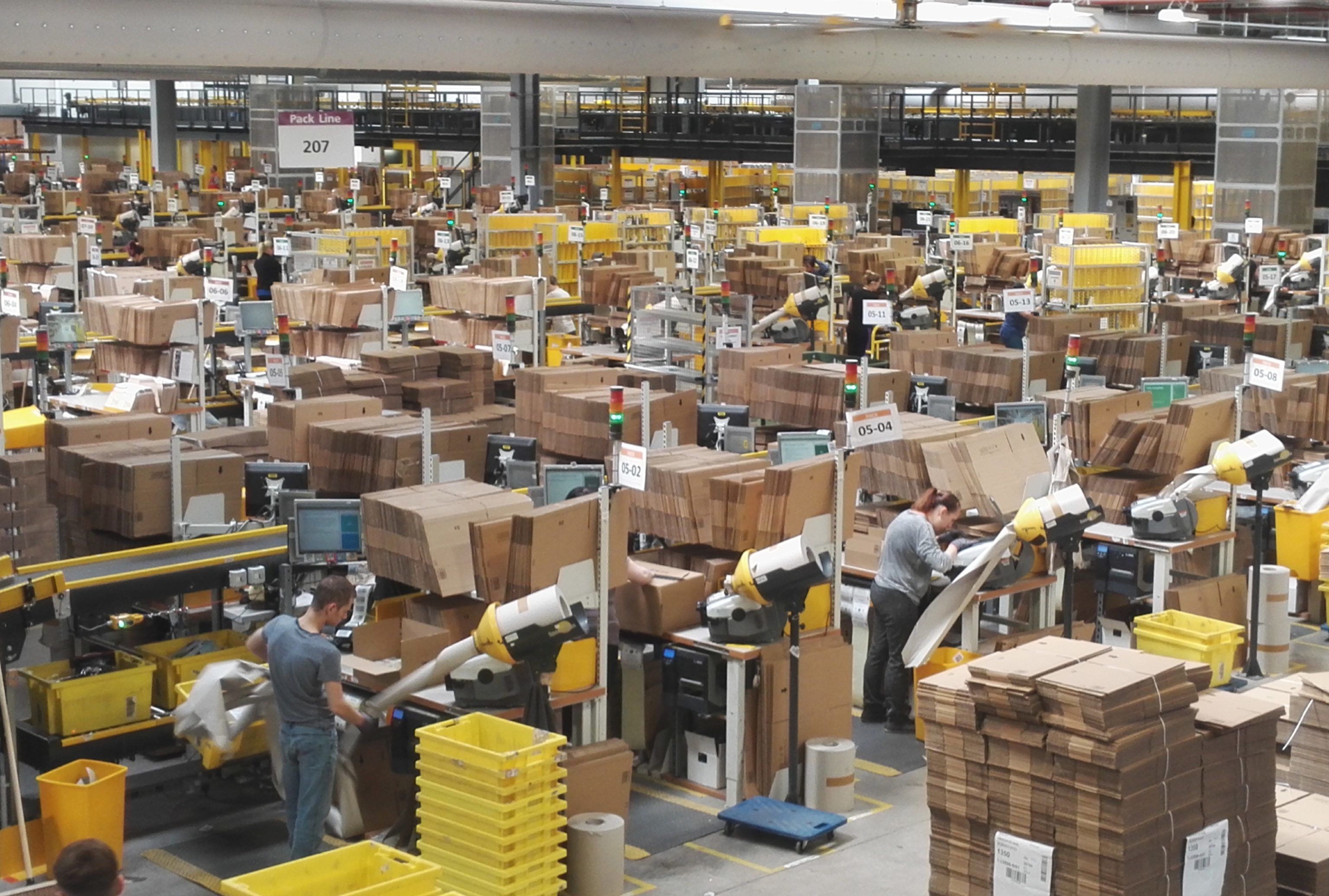 One of the main halls at Amazon's Dunfermline facility.