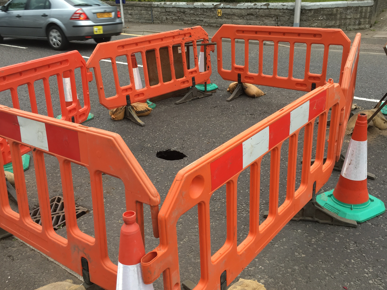 The sink hole in Ferry Road, Monifieth