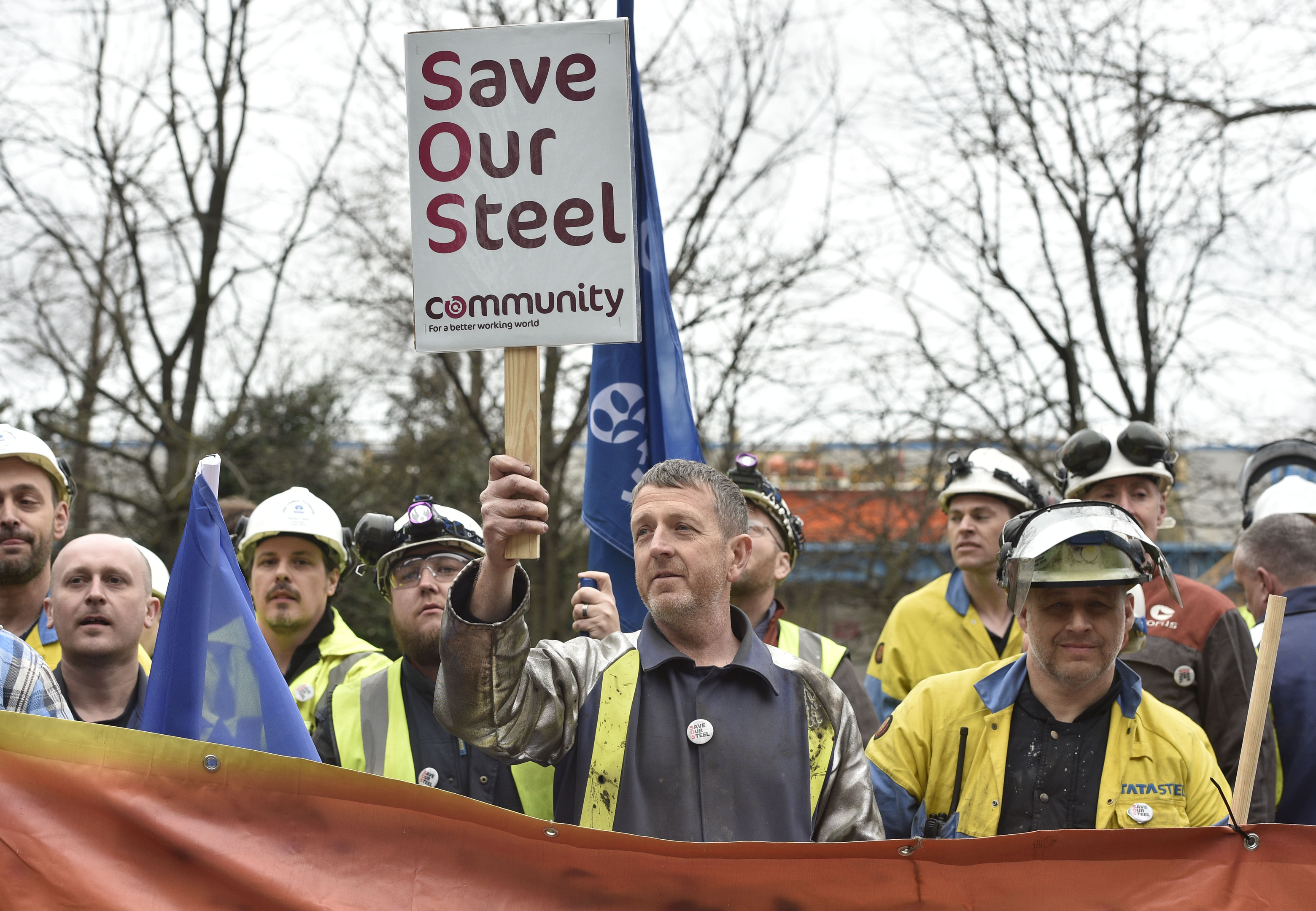 Tata Steel workers in Port Talbot.