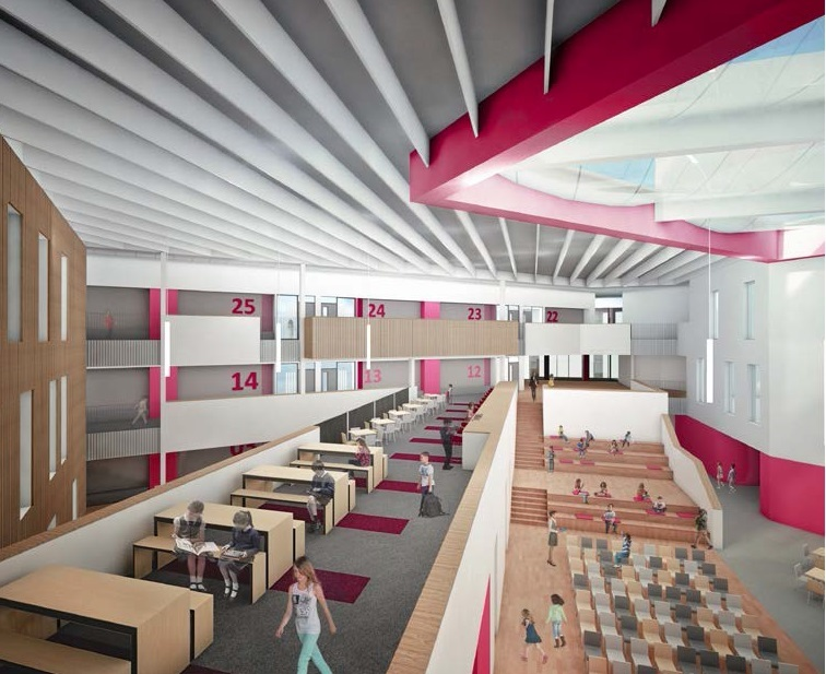 A look inside the campus. Communal areas would be light and bright.