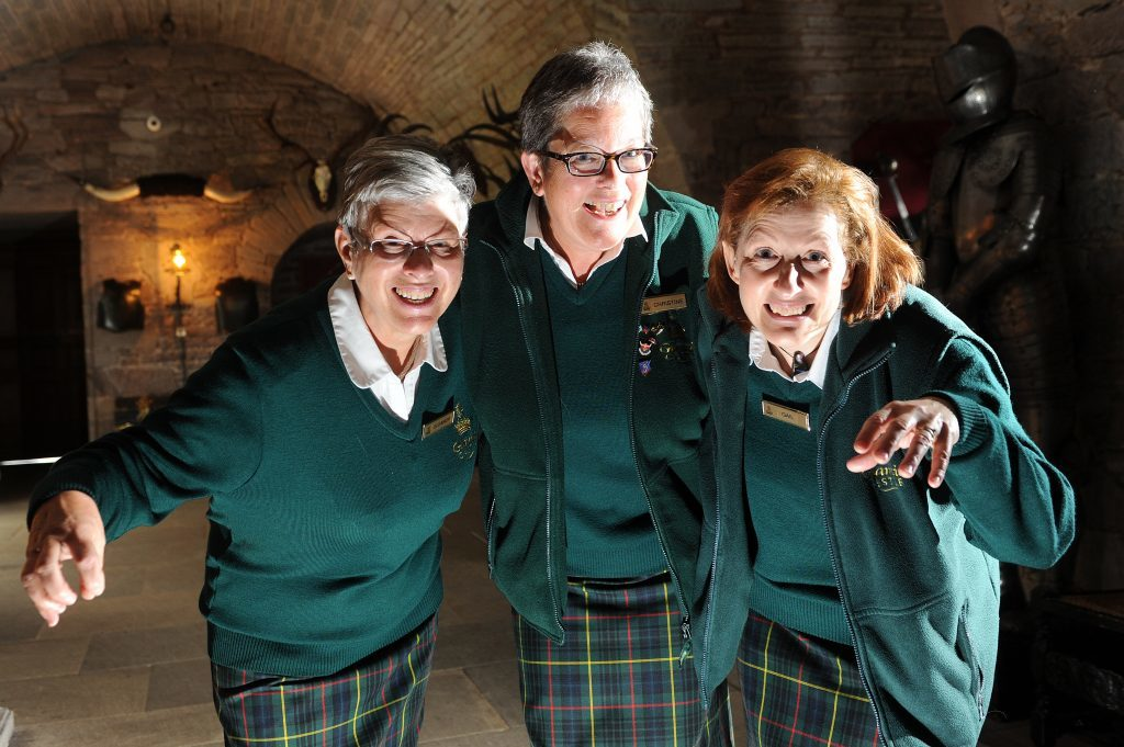 Eleanor Russell, Christine Cairns and Gail Renwick of the Glamis Castle staff