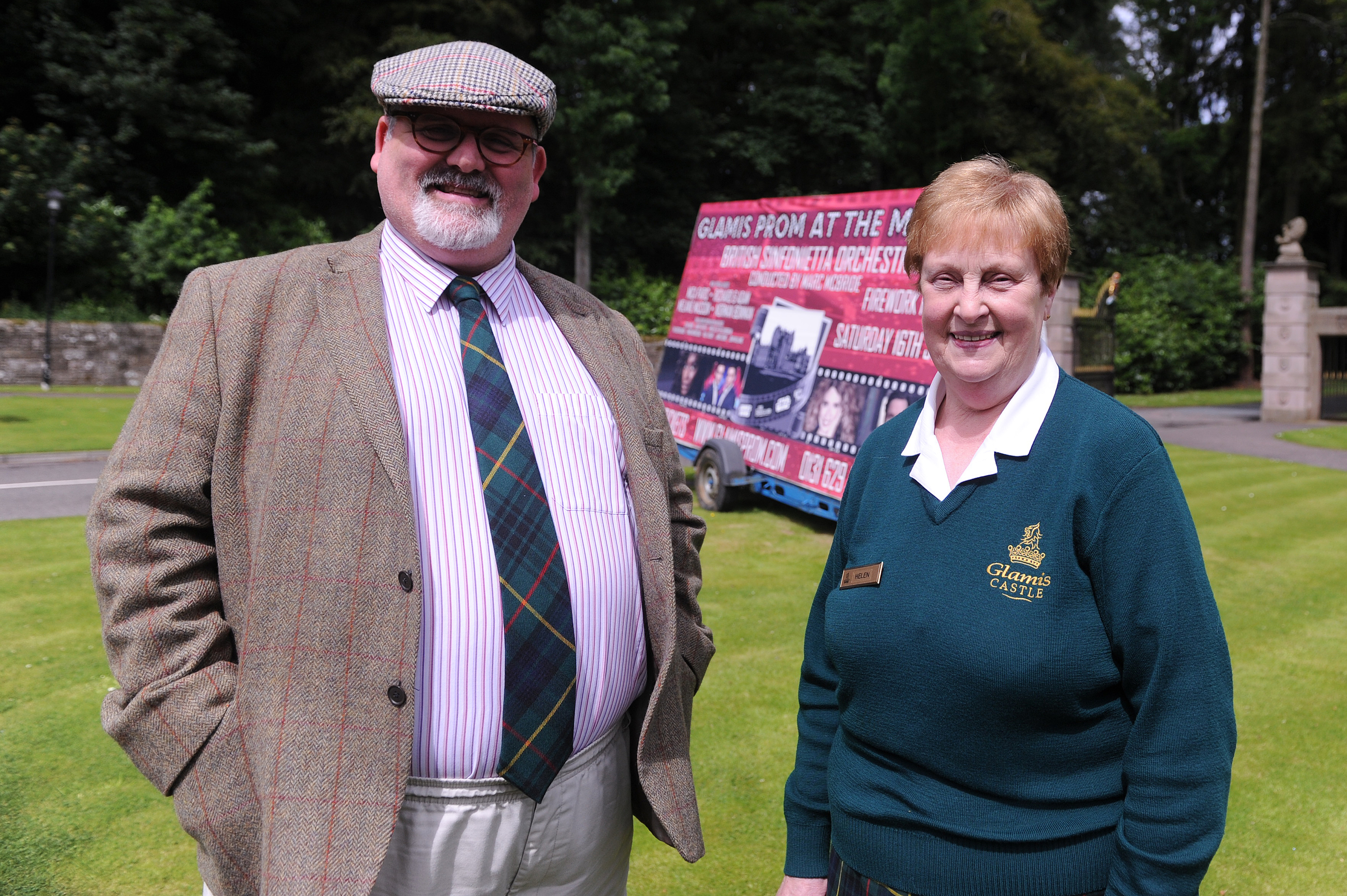 Former Glamis Castle general manager Tommy Baxter and Helen Lamont of the castle ticket office.