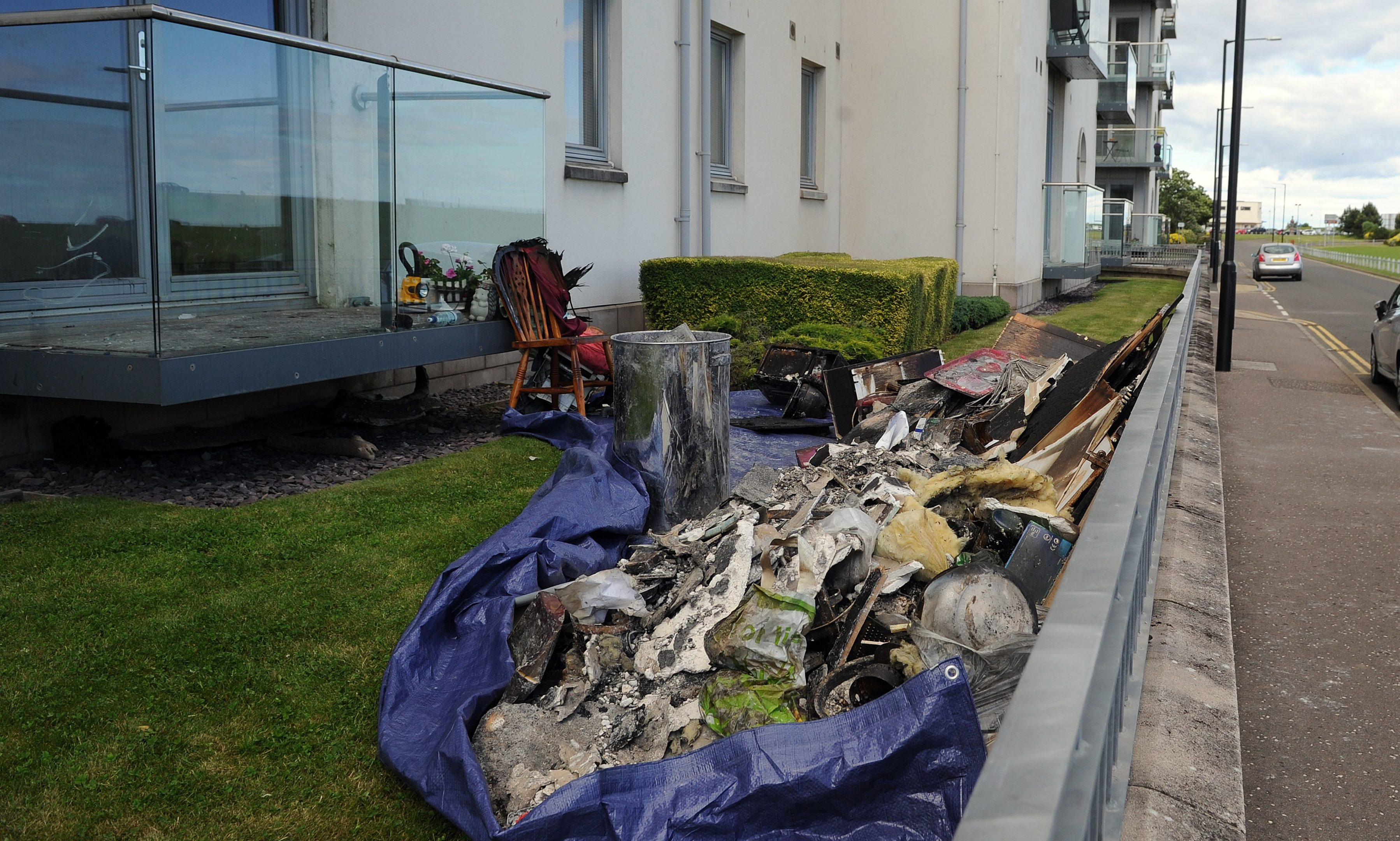 The fire-damaged possessions after the blaze.
