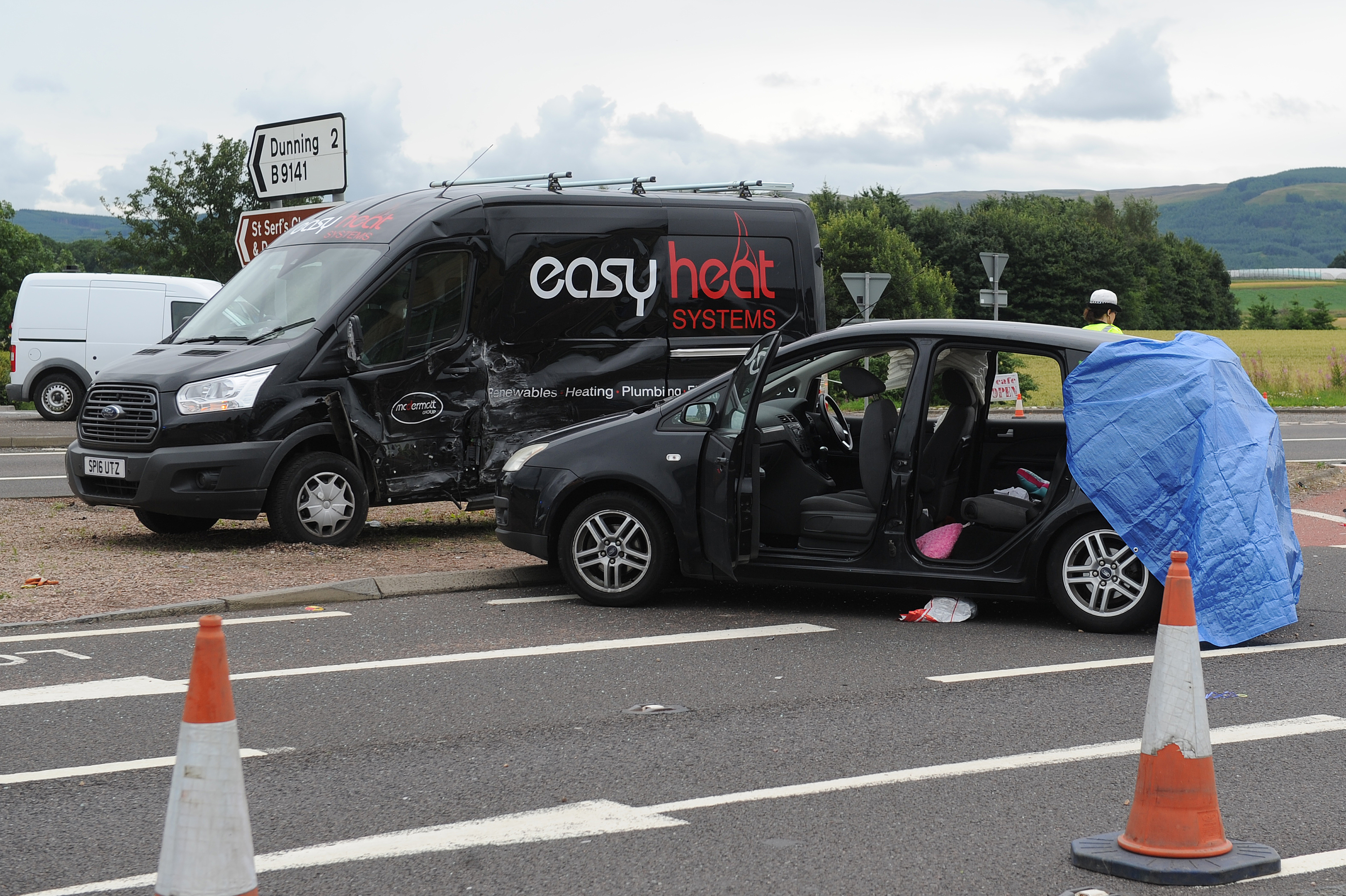 The damaged vehicles involved in the accident, A9, near Aberuthven.