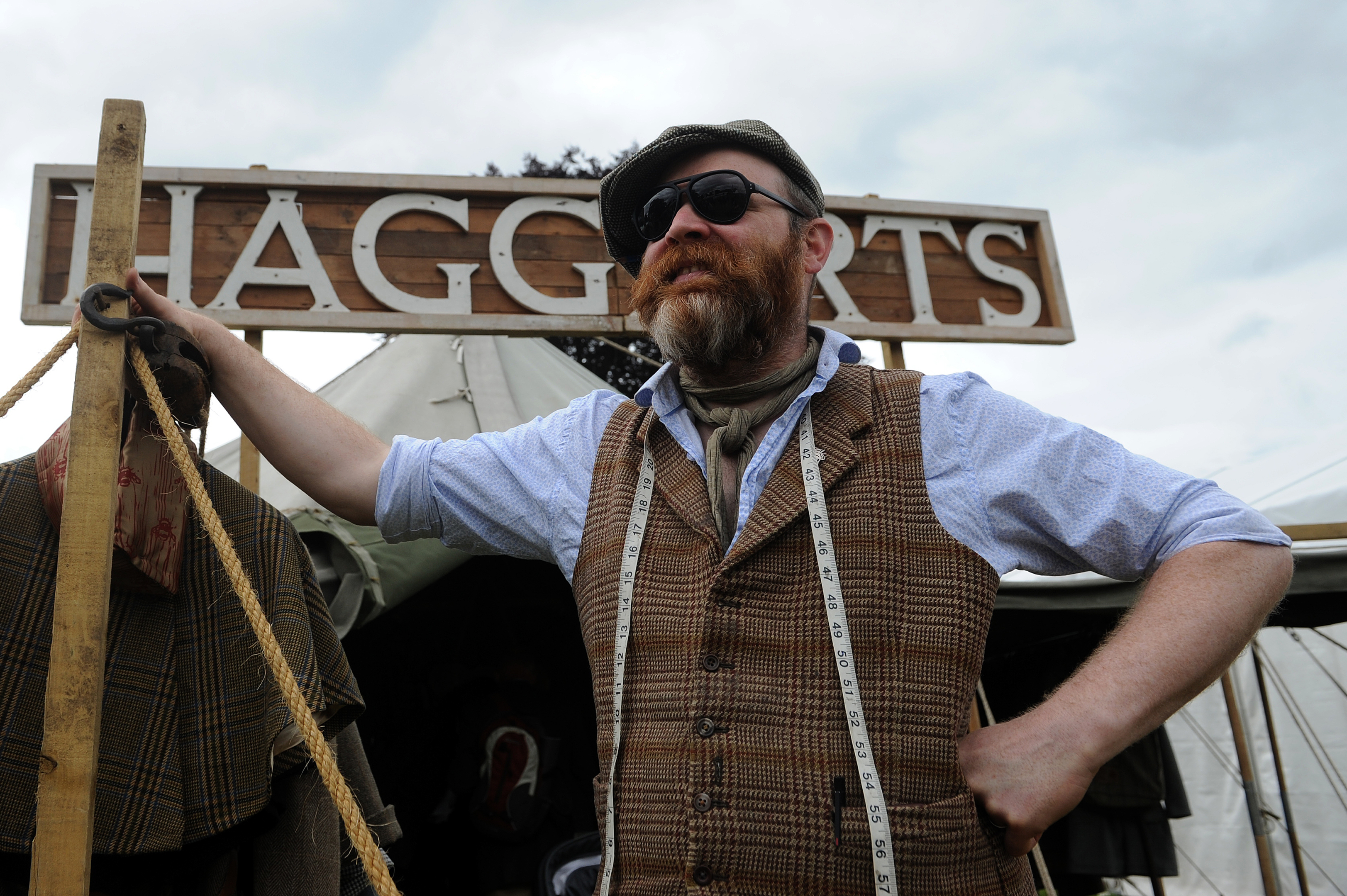 yan Hannigan ready to measure up customers to his Haggart's tent.