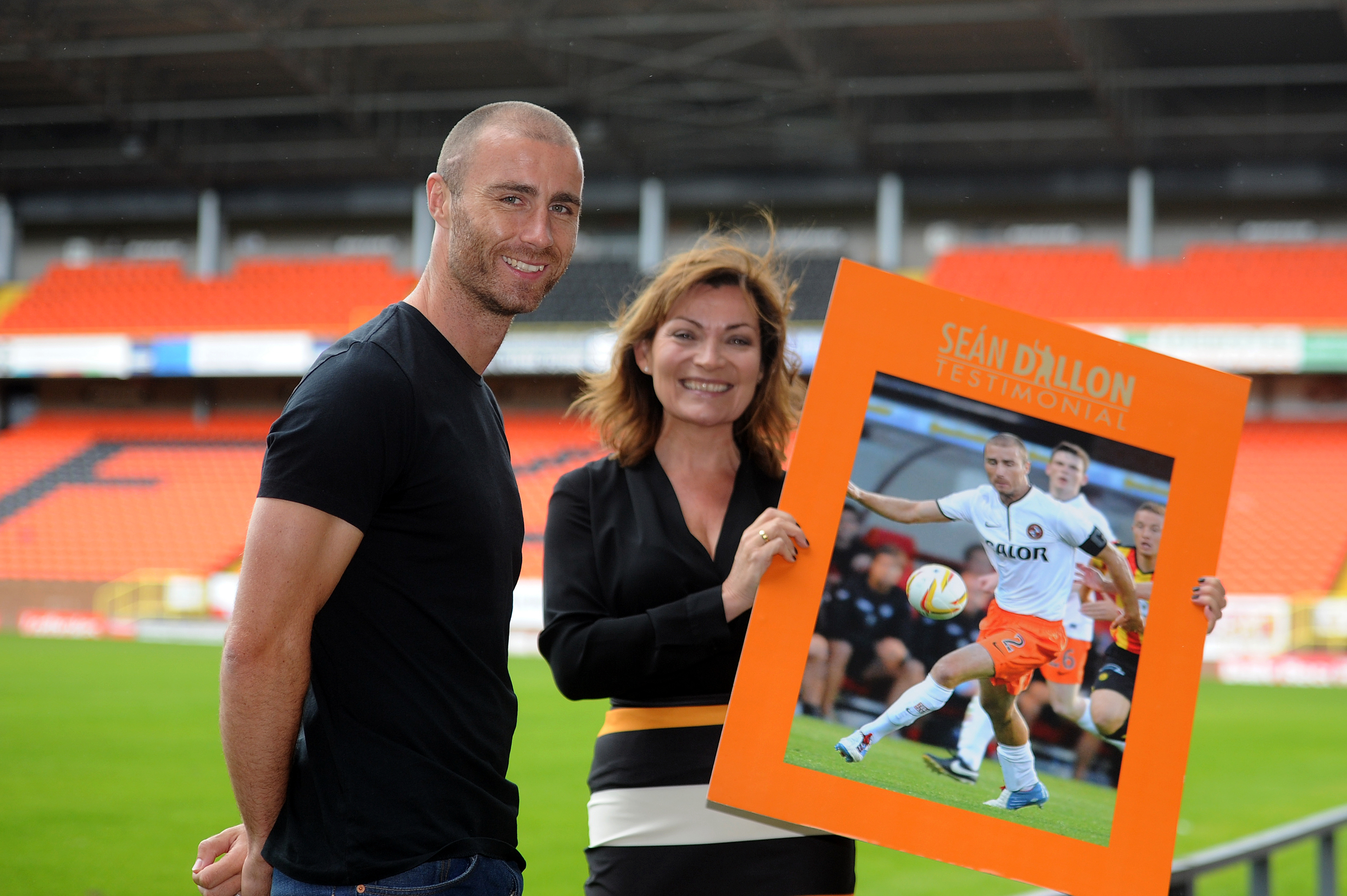 Dundee United defender Sean Dillon at Tannadice with Lorraine Kelly.