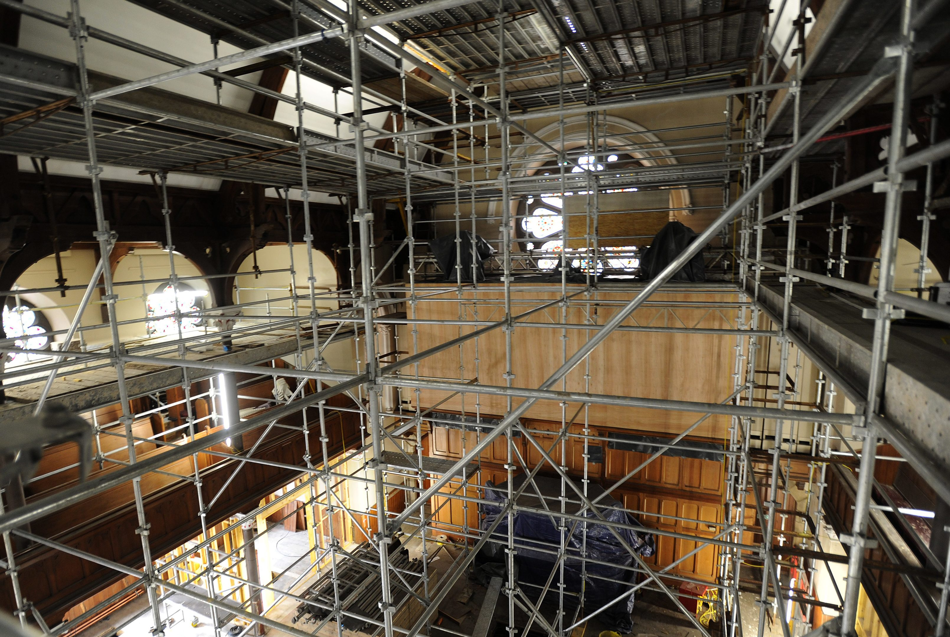 Work ongoing inside the church.