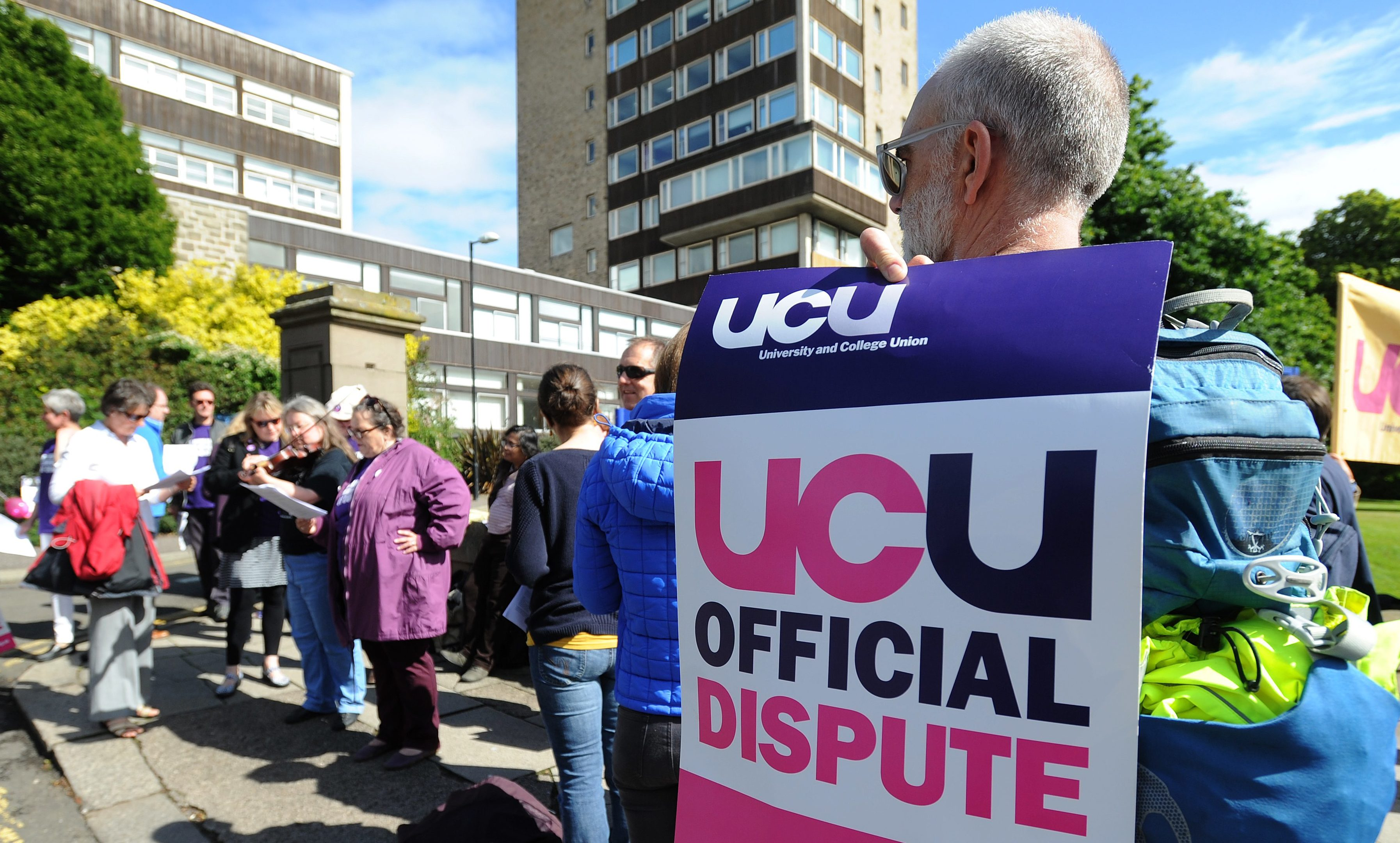 Protesters outside Dundee University on Tuesday.