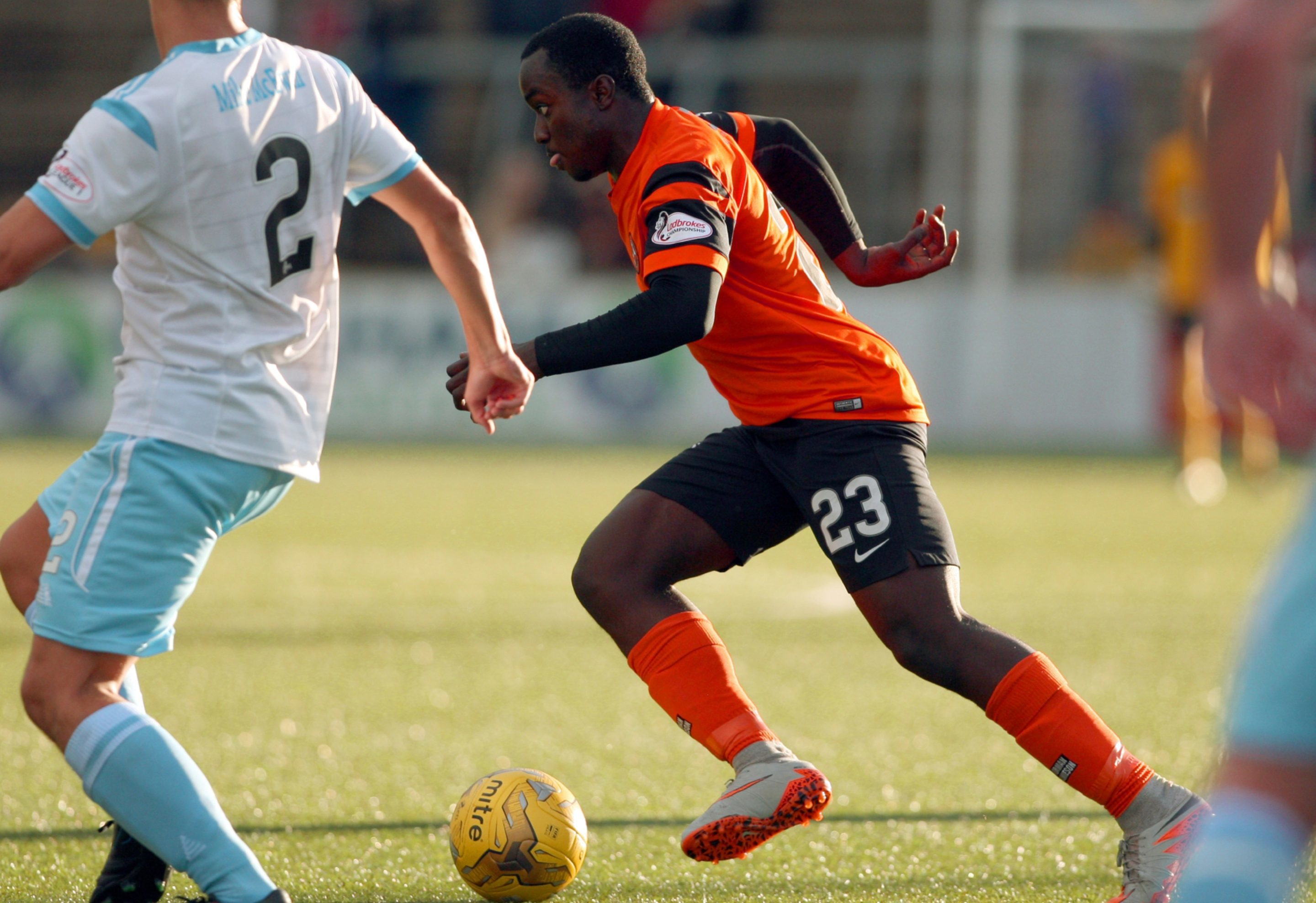 Justin Johnson torments the Forfar defence.