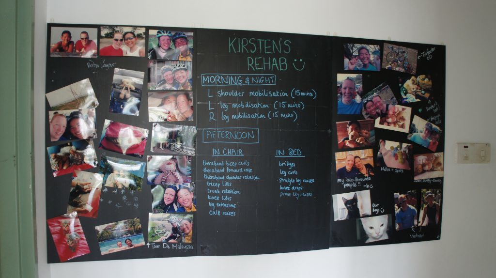 Kirsten's inspiration board during her rehab